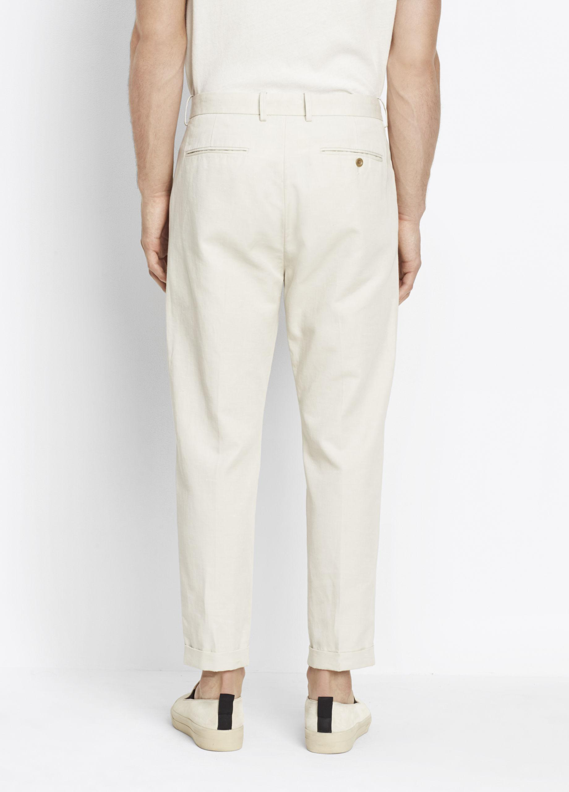 Vince Cotton Relaxed Cropped Trouser in Stone (Natural) for Men