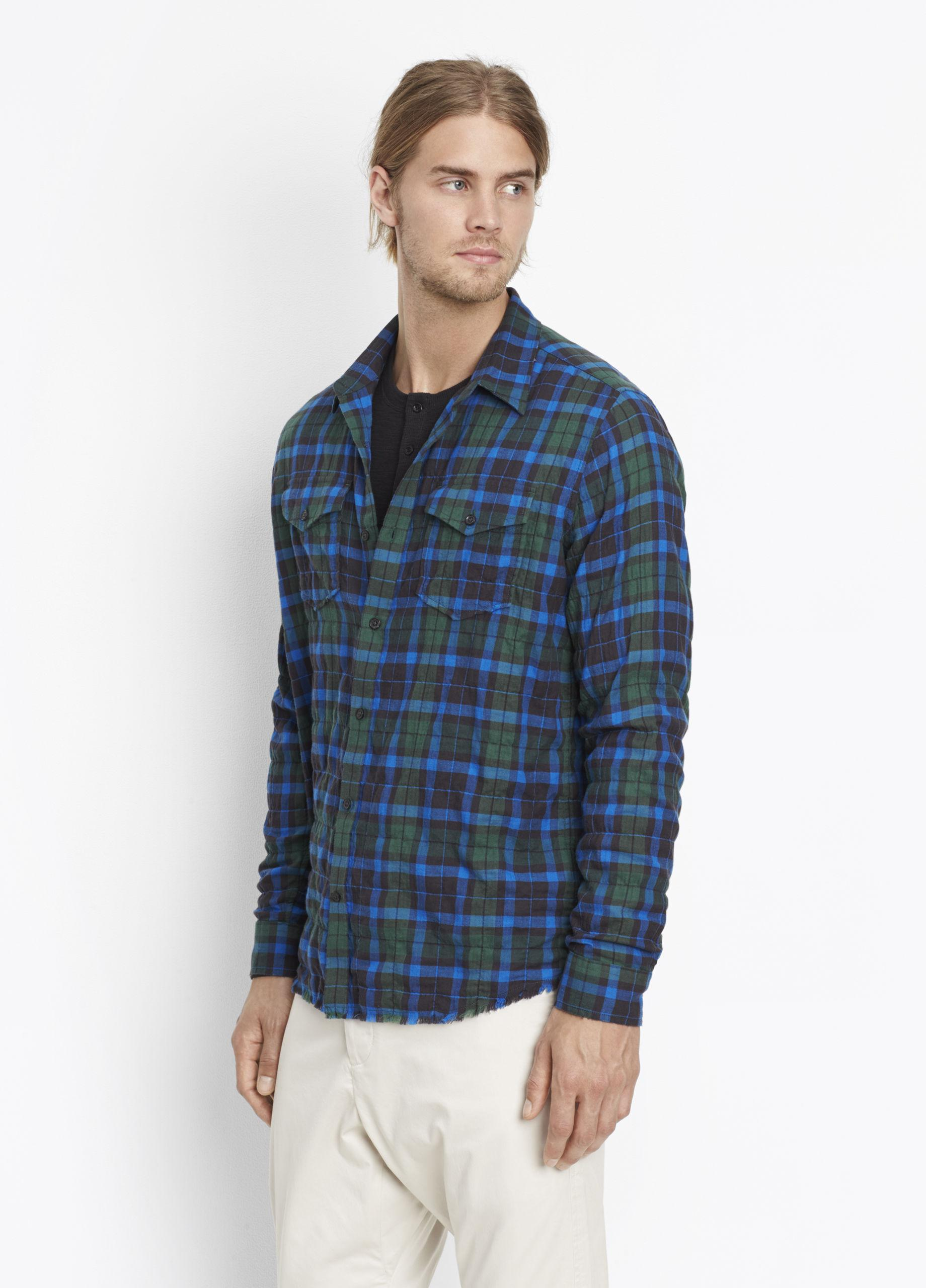 Download Vince Cotton Frayed Edge Western Shirt in Blue for Men - Lyst