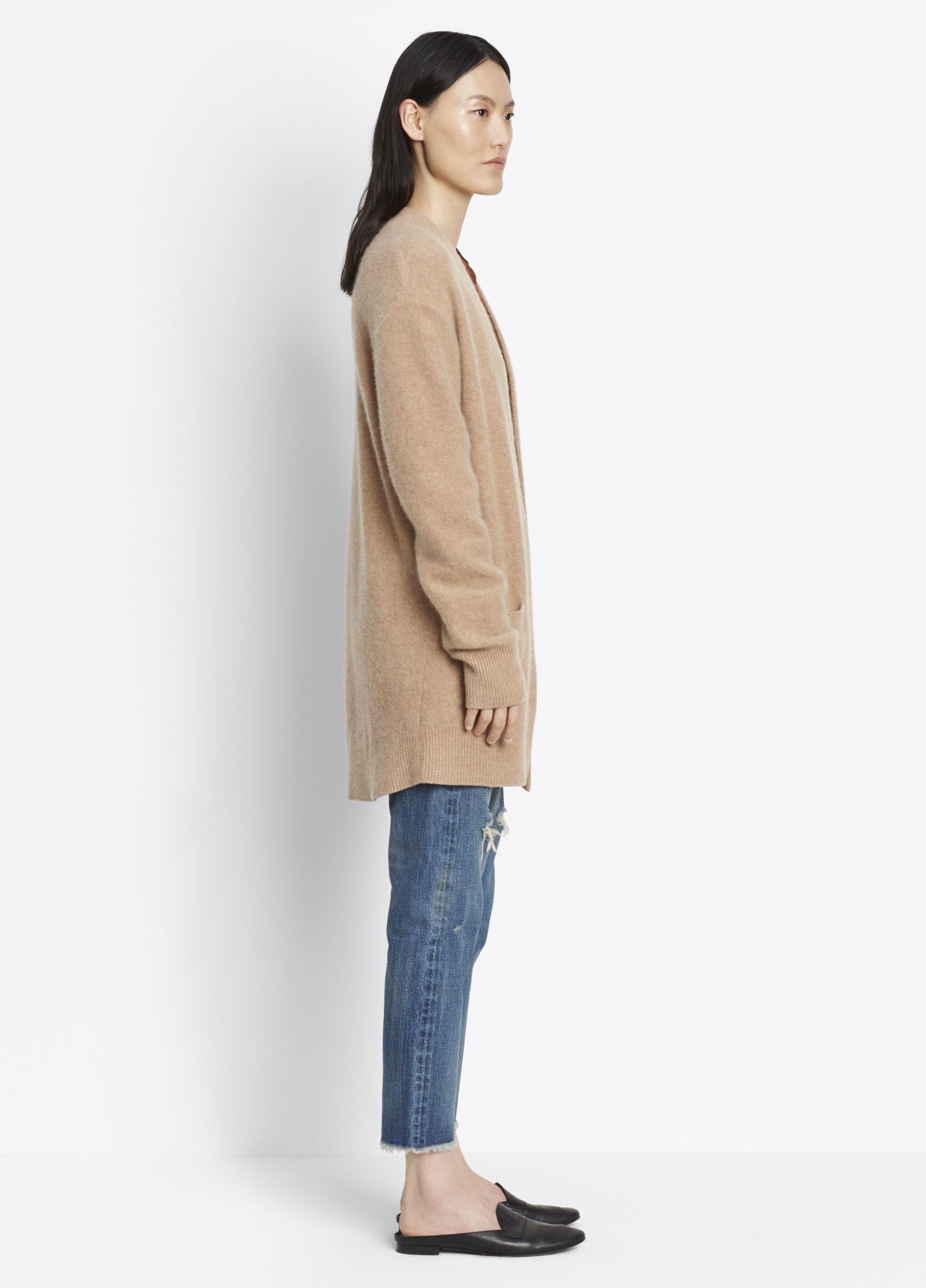 Vince Boiled Cashmere Robe Cardigan in Camel (Natural)