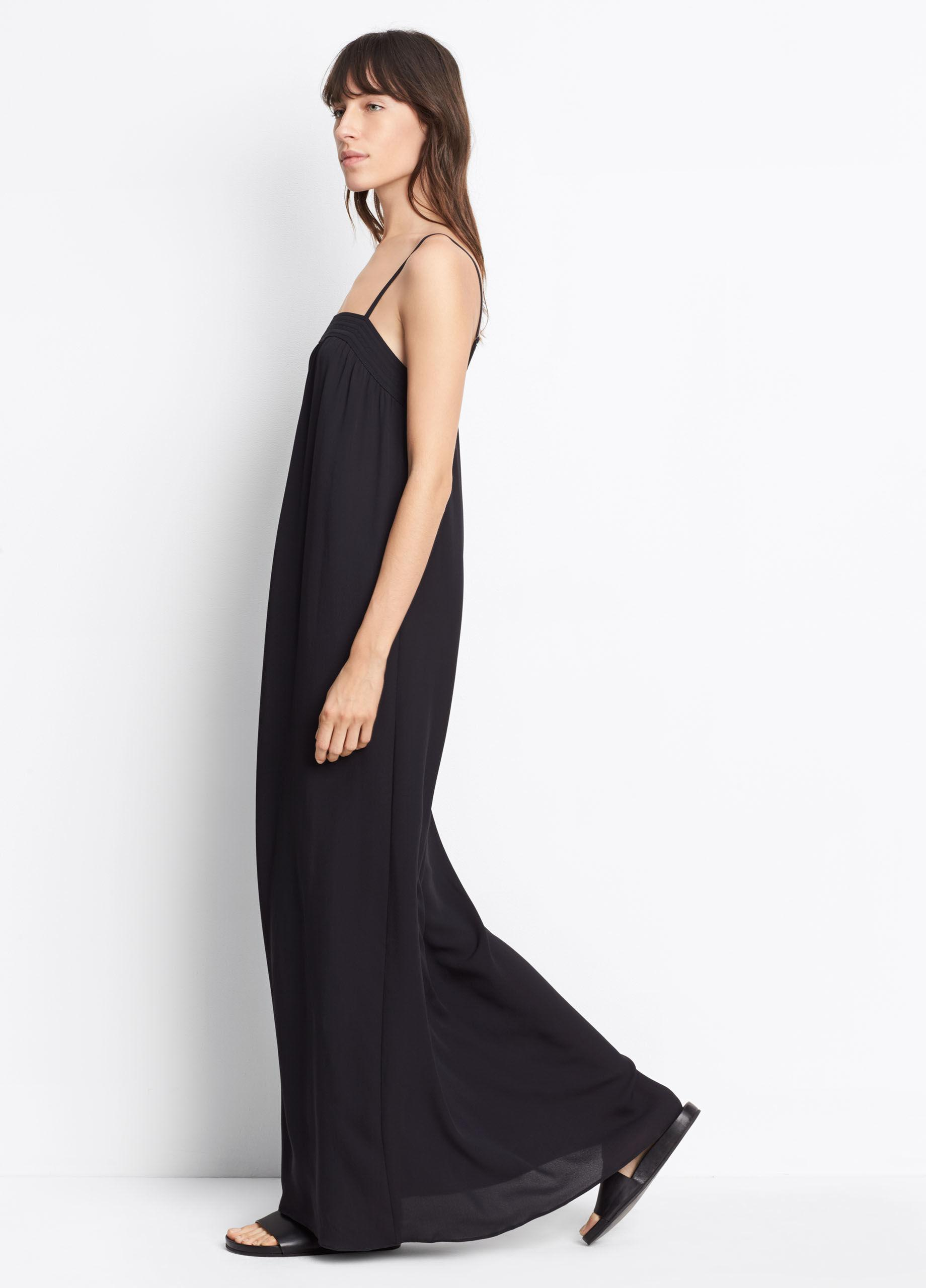 Vince Embroidered Silk Dress In Black Lyst