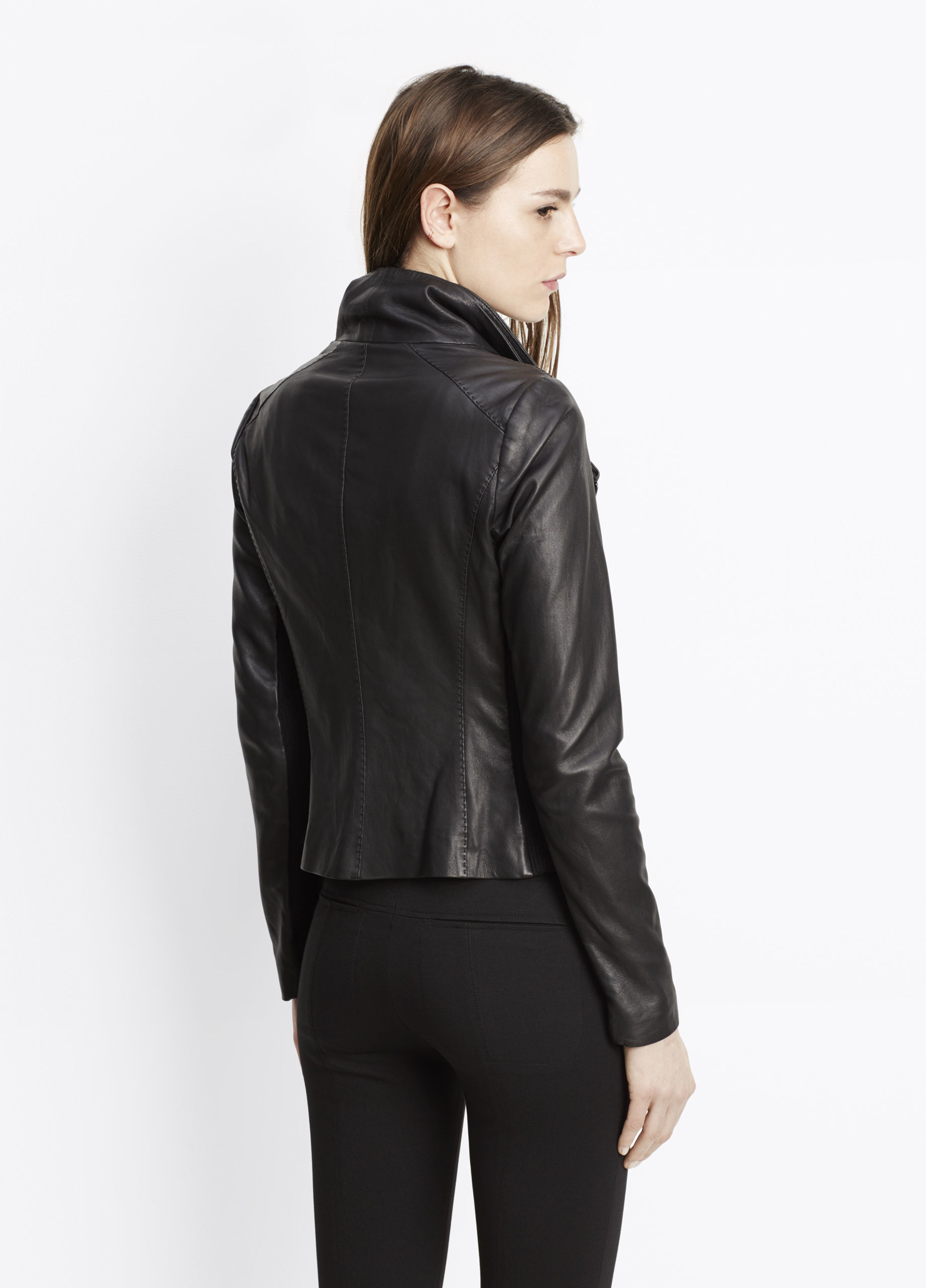 Vince Feather Leather Scuba Jacket In Black Lyst