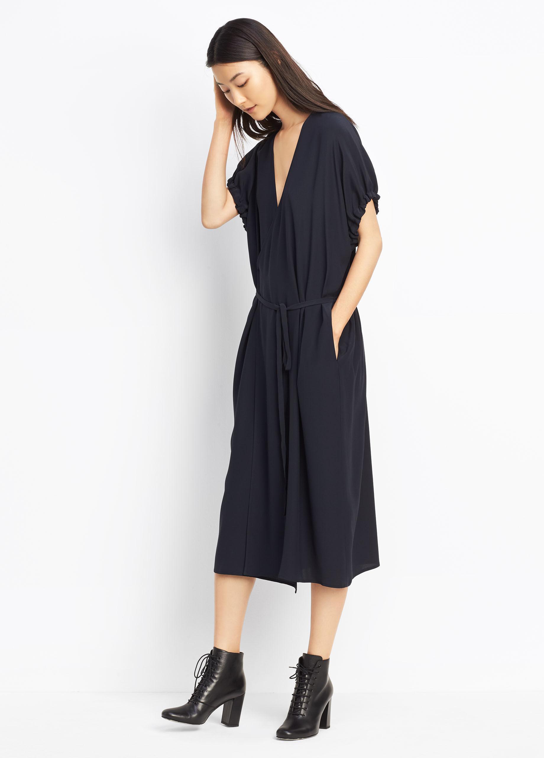 Vince Silk Kimono Wrap Dress In Blue Lyst