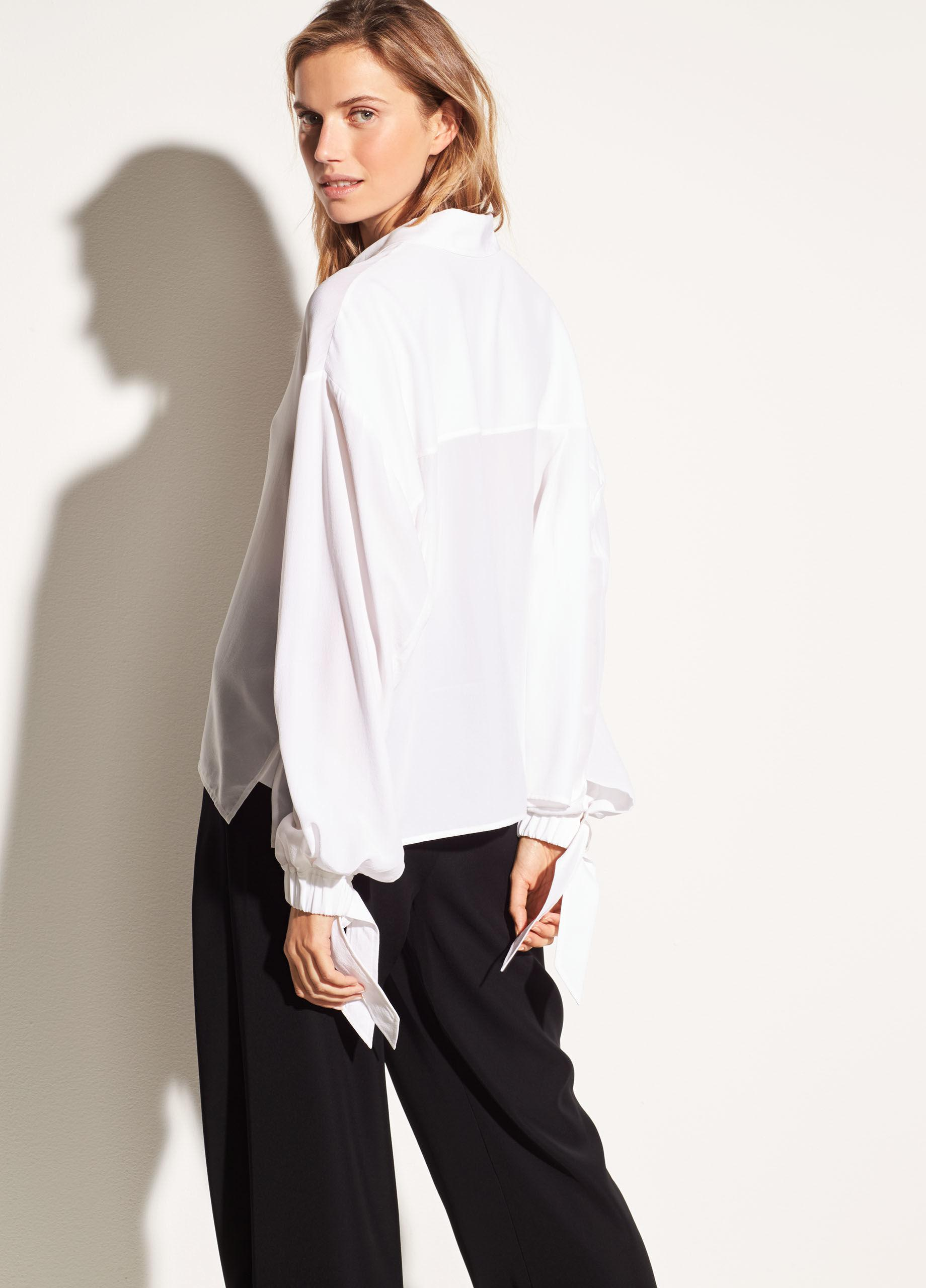 5ed8acb66e689 Lyst - Vince Tie Sleeve Silk Blouse in White