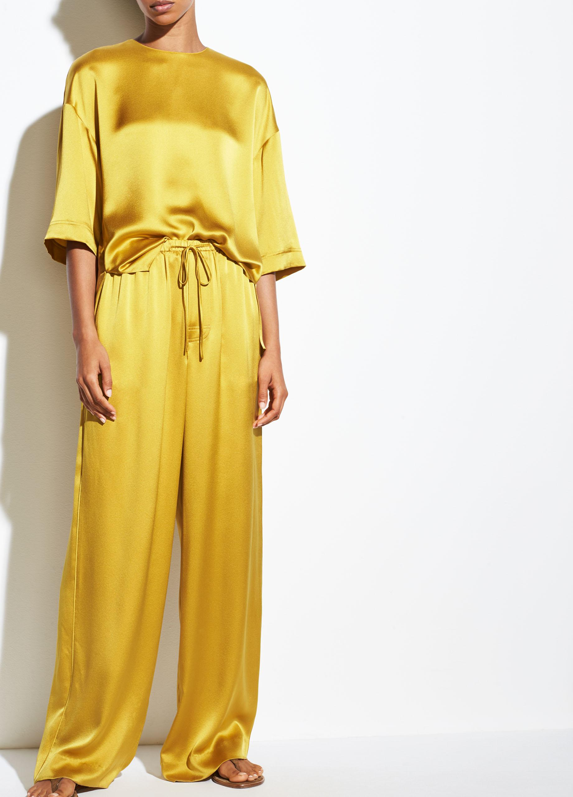 ff6397c8d2e2 Vince Satin Pj Pant in Yellow - Lyst