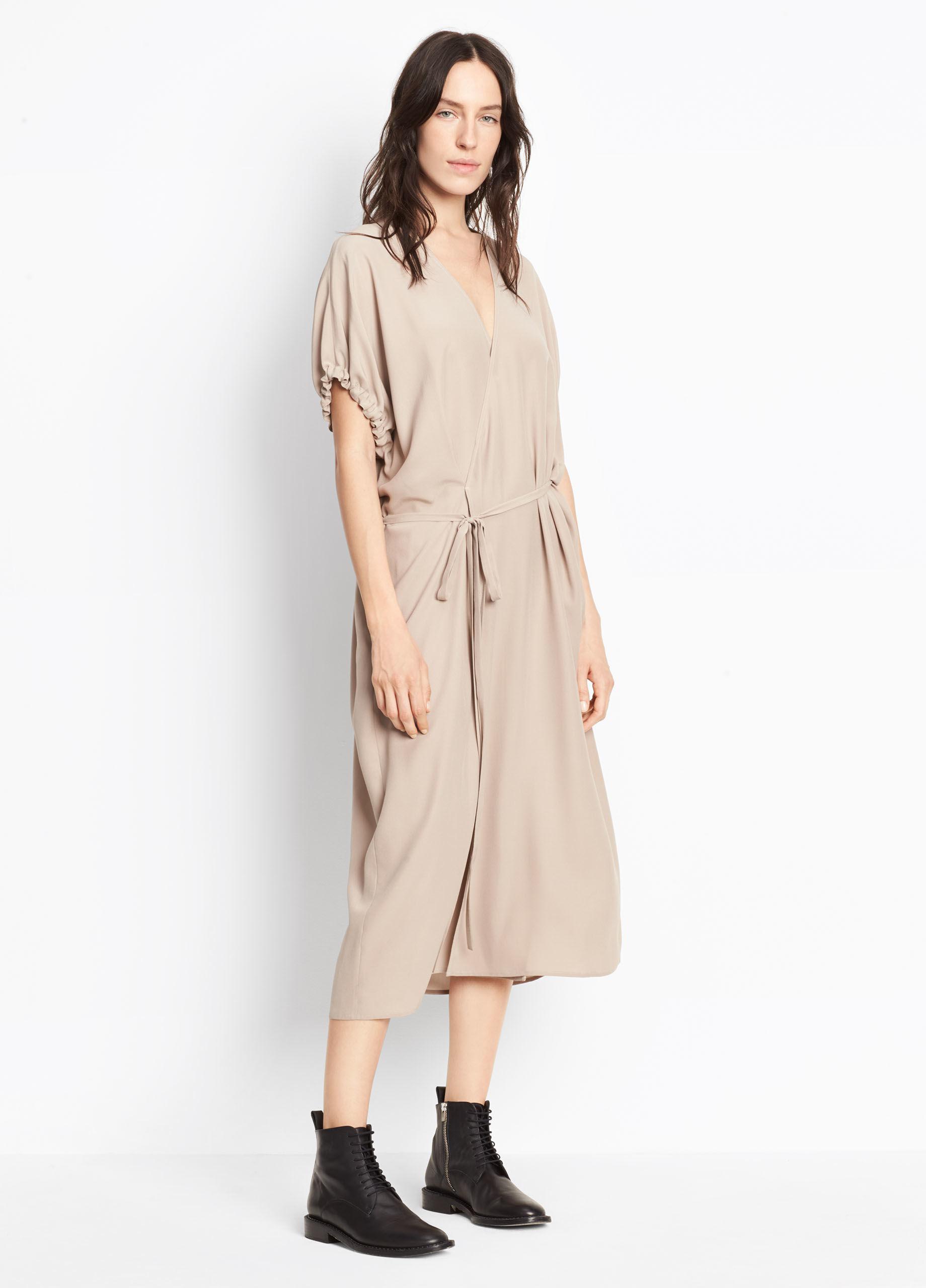 Vince Silk Kimono Wrap Dress In Natural Lyst