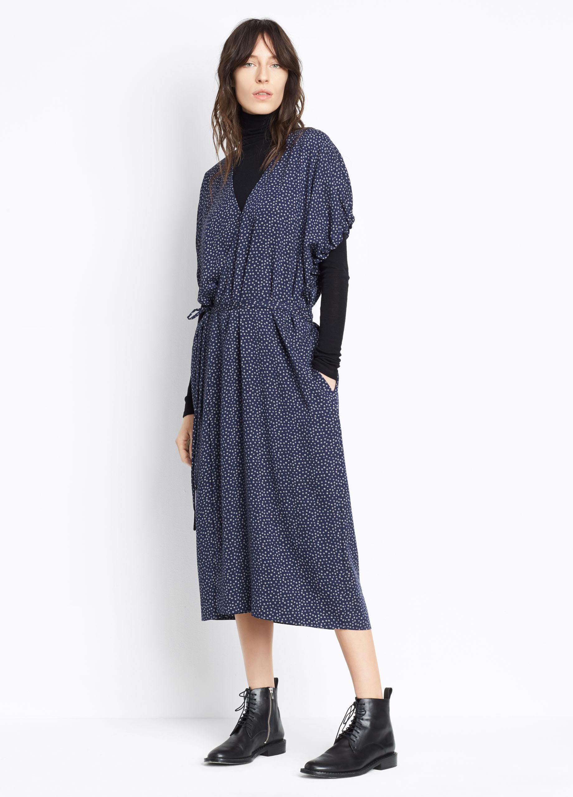 Lyst Vince Polka Dot Kimono Wrap Dress In Blue