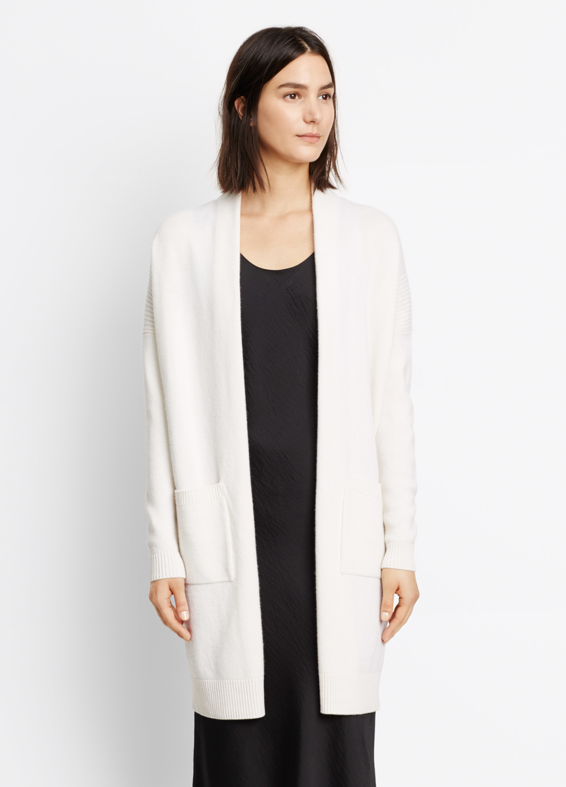 Vince Side Slit Cardigan In White Lyst