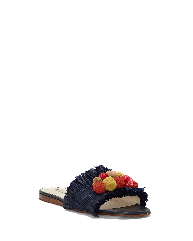 Louise et Cie Arthya Raffia Pom Pom Detail Sandals KWKyGIA