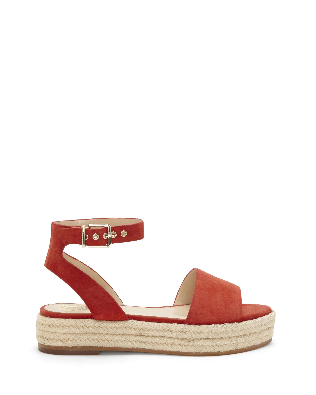Vince Camuto. Red Women's Kathalia Leather Platform Espadrille Sandals