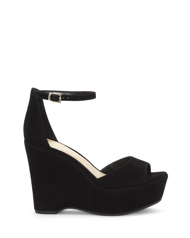 Vince Camuto. Women's Black Tatchen – Platform Wedge Sandal