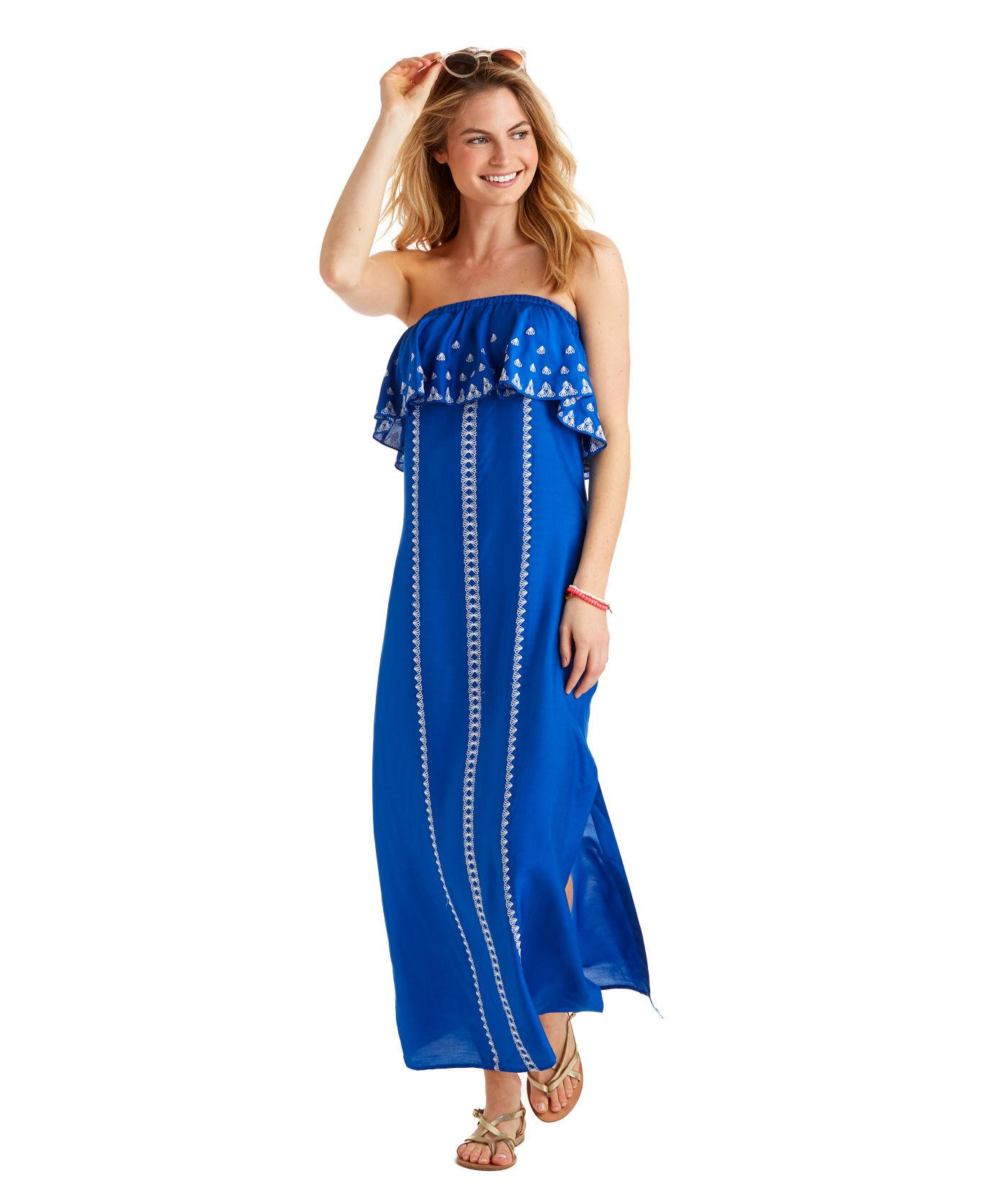 5052a6a48e Vineyard Vines Embroidered Maxi Dress in Blue - Lyst