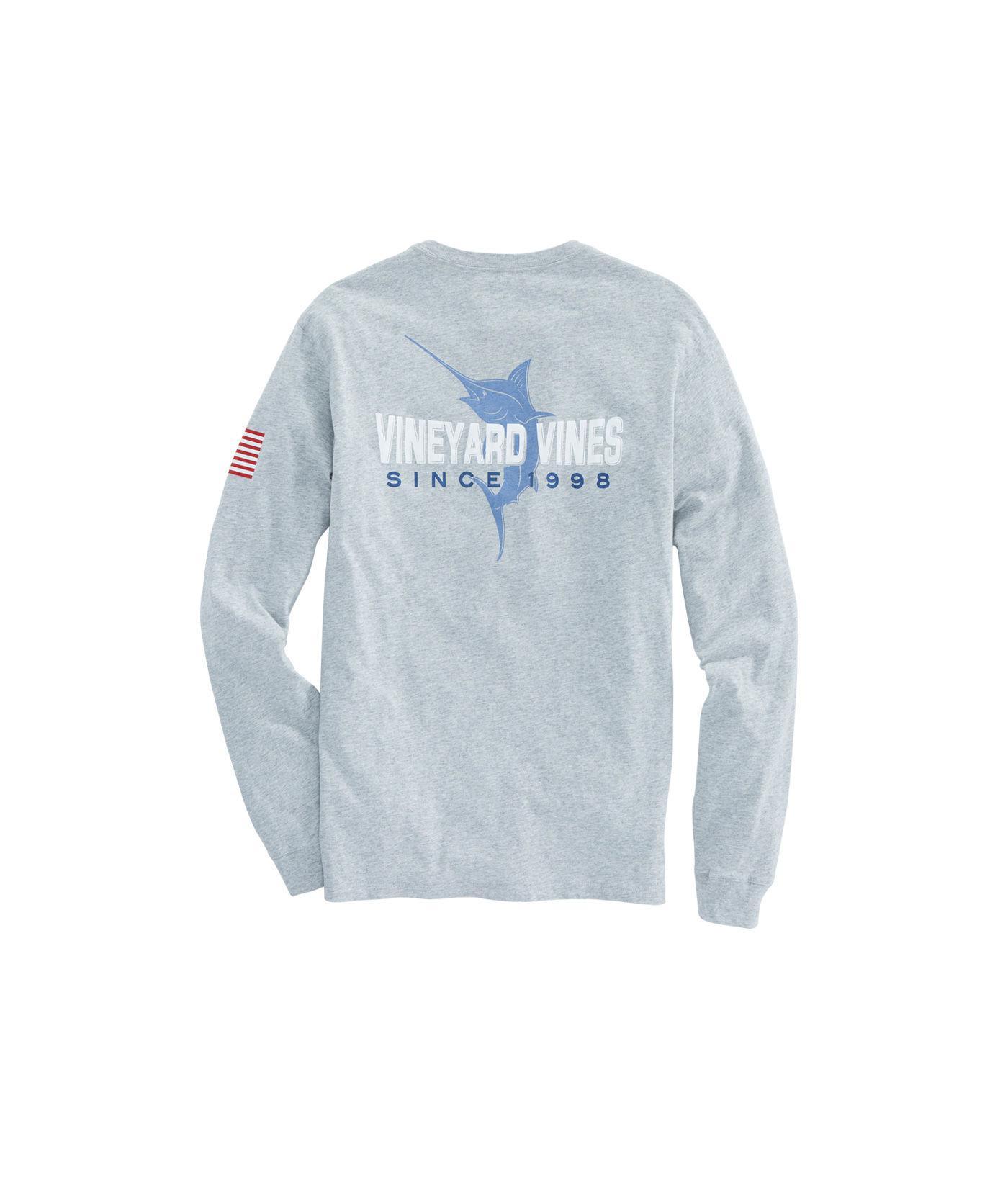 3a2d4505c Lyst - Vineyard Vines Long-sleeve 98 Marlin Pocket T-shirt in Blue ...
