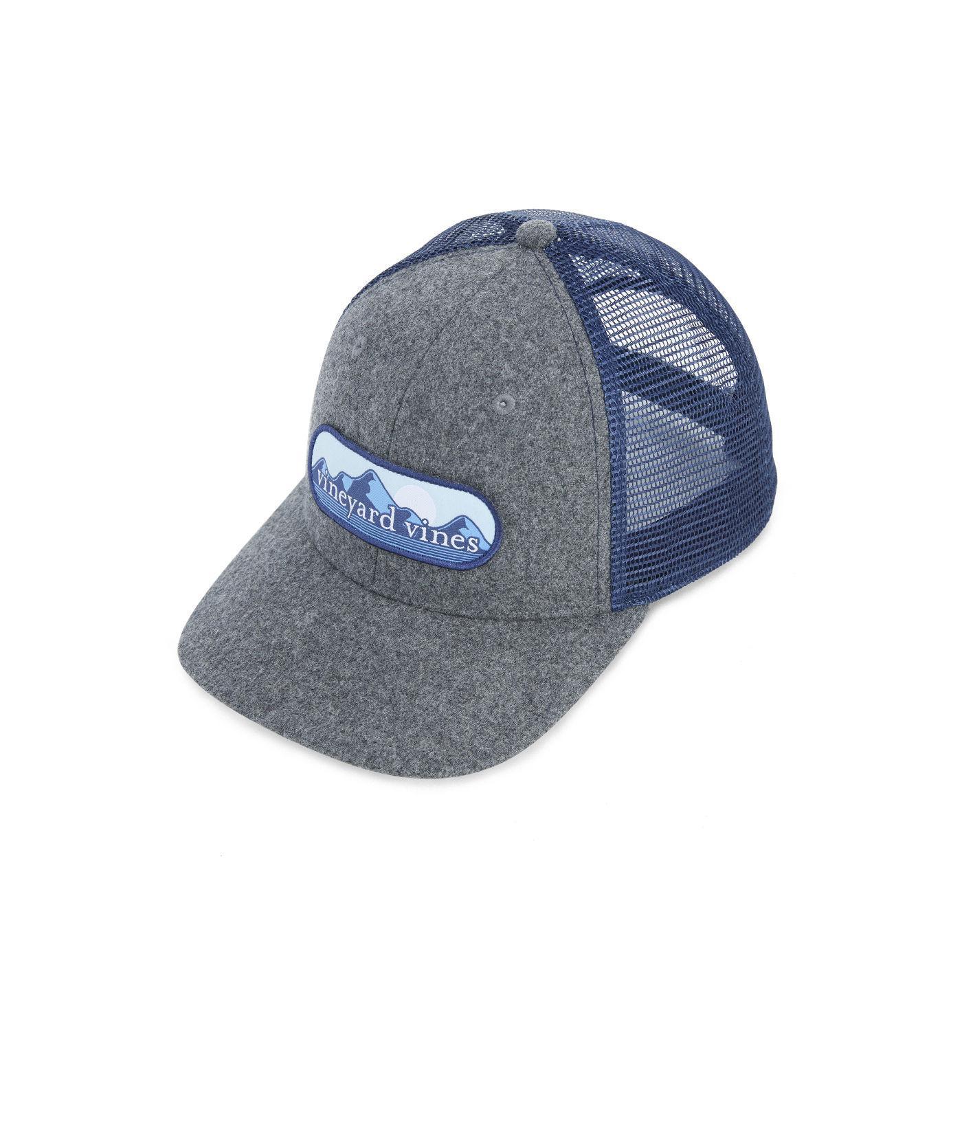 4abe752be16 Lyst - Vineyard Vines Mountain Patch Wool Trucker Hat in Blue for Men