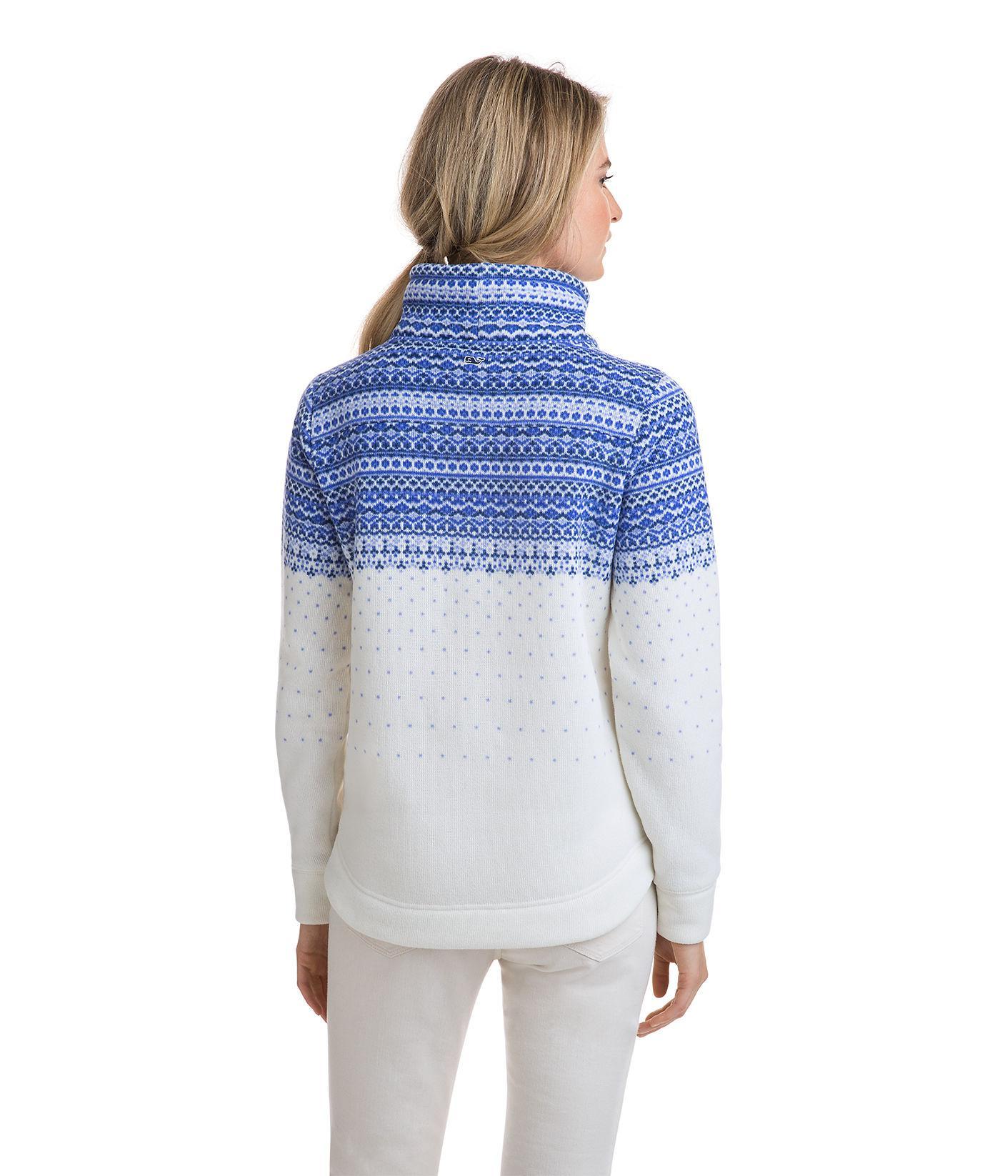 Vineyard vines Fair Isle Sweater Fleece Funnel Neck Shep Shirt in ...