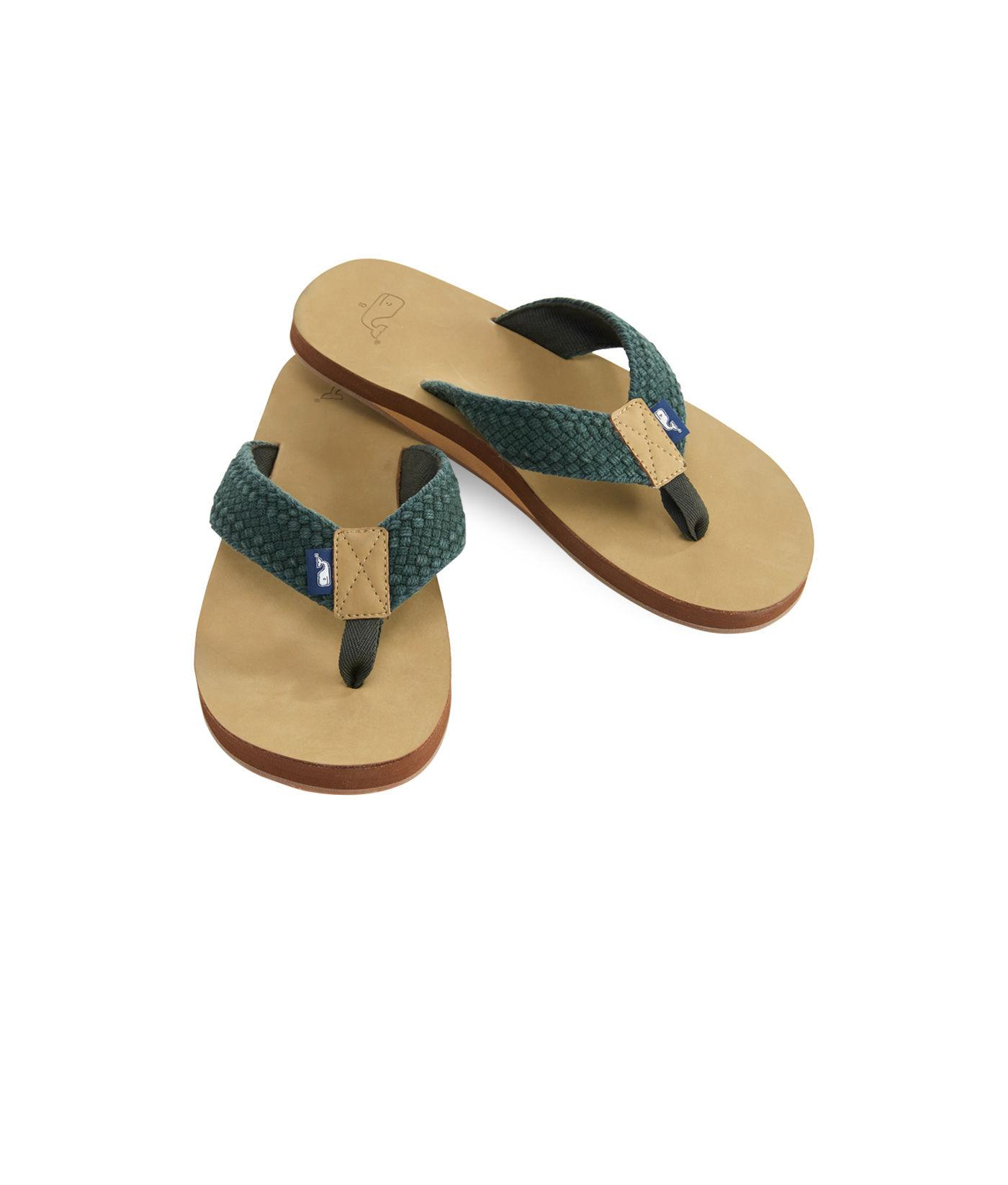 31ae336da3e77f Lyst - Vineyard Vines Leather Flip Flops With Washed Webbing in ...
