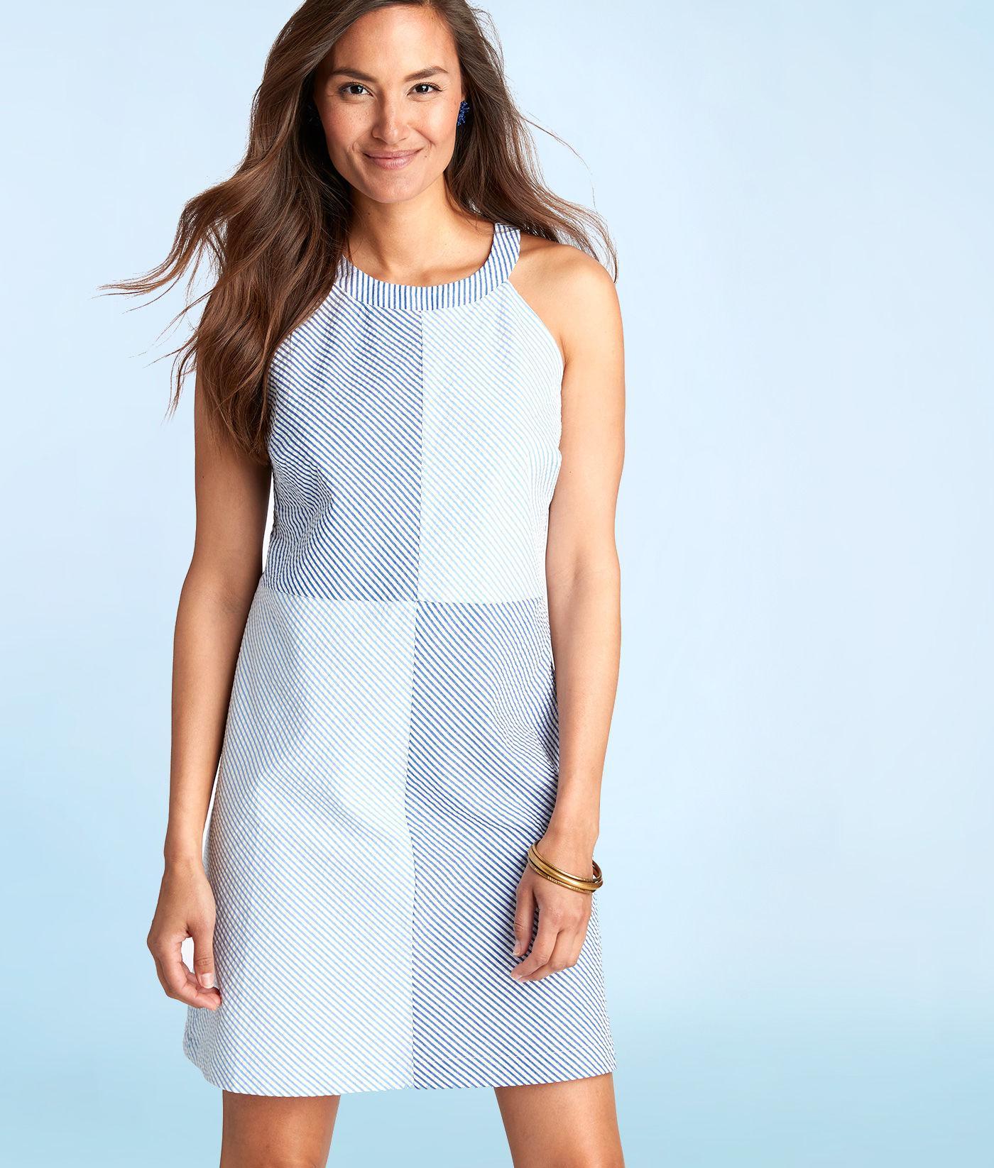 62c0eeaaf7 Vineyard Vines Seersucker Stripe Block Dress in Blue - Lyst