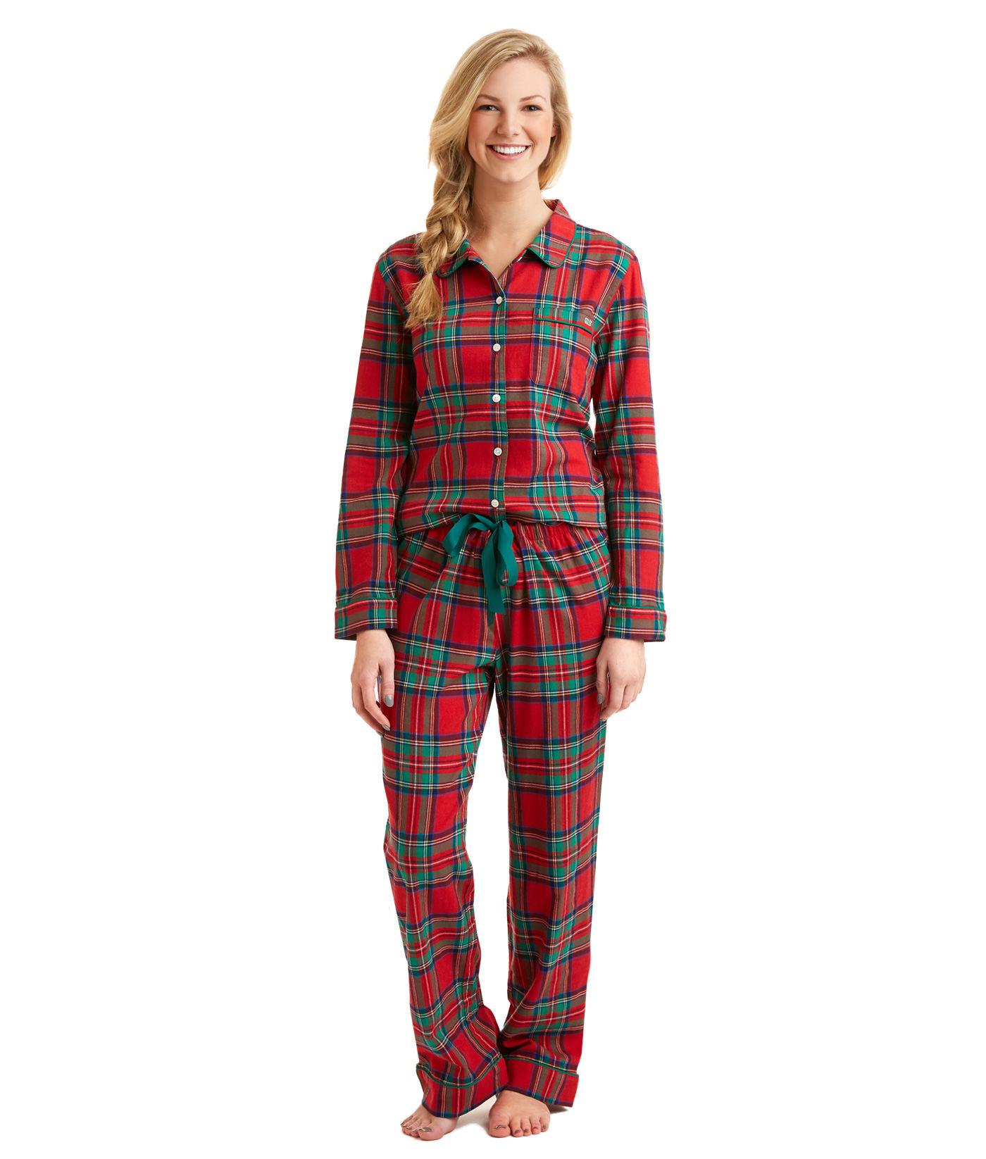 d0039f73c4 Lyst - Vineyard Vines Jolly Plaid Flannel Lounge Set in Red