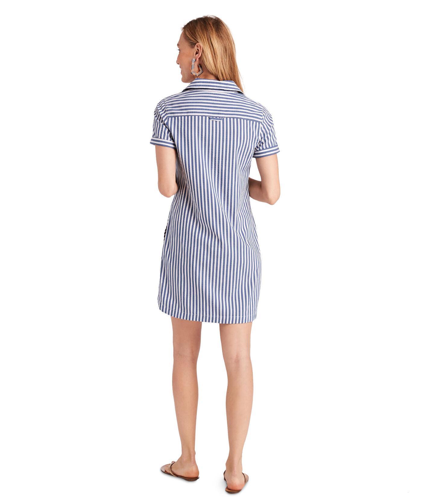 Vineyard Vines Cotton Margo Shore Seersucker Shirt Dress In Blue