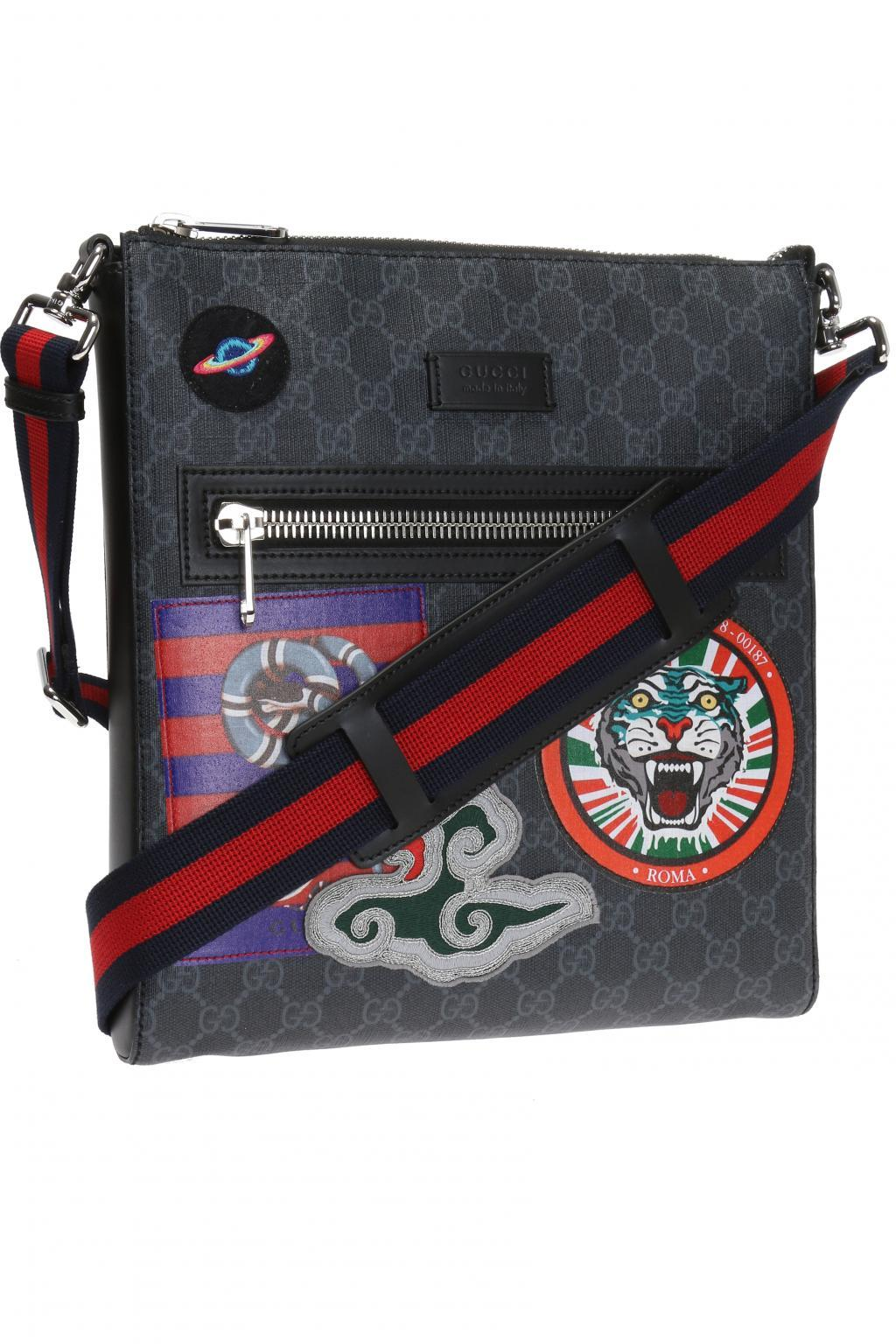 e53ba1ad1e5302 Gucci - Black Patched Shoulder Bag 'night Courrier' for Men - Lyst. View  fullscreen