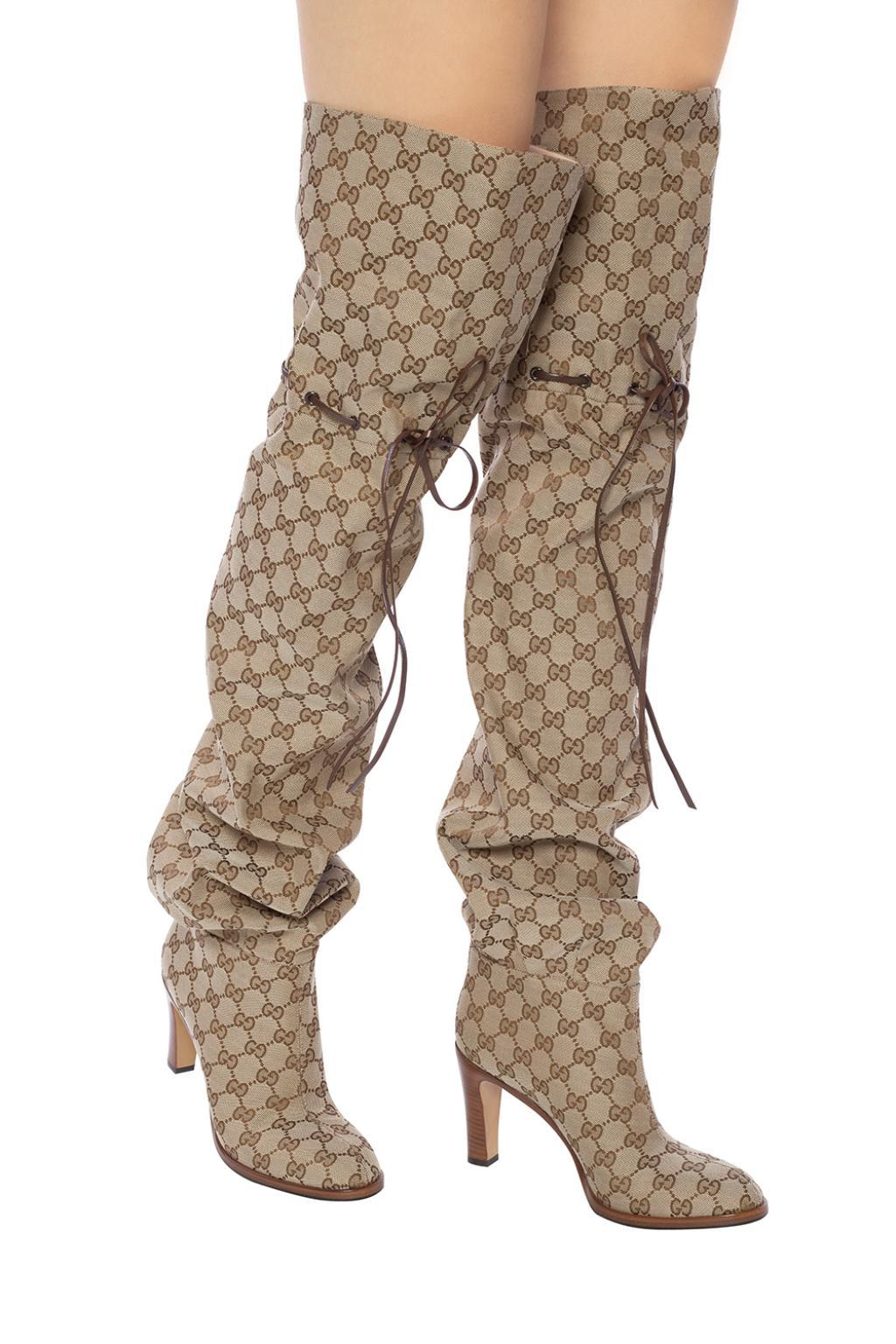 Gucci Leather Heeled Thigh-high Boots