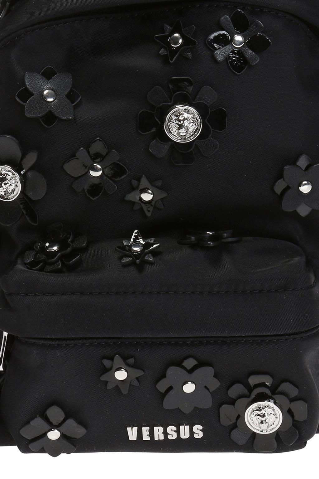 Versus Leather Appliqued Backpack in Black