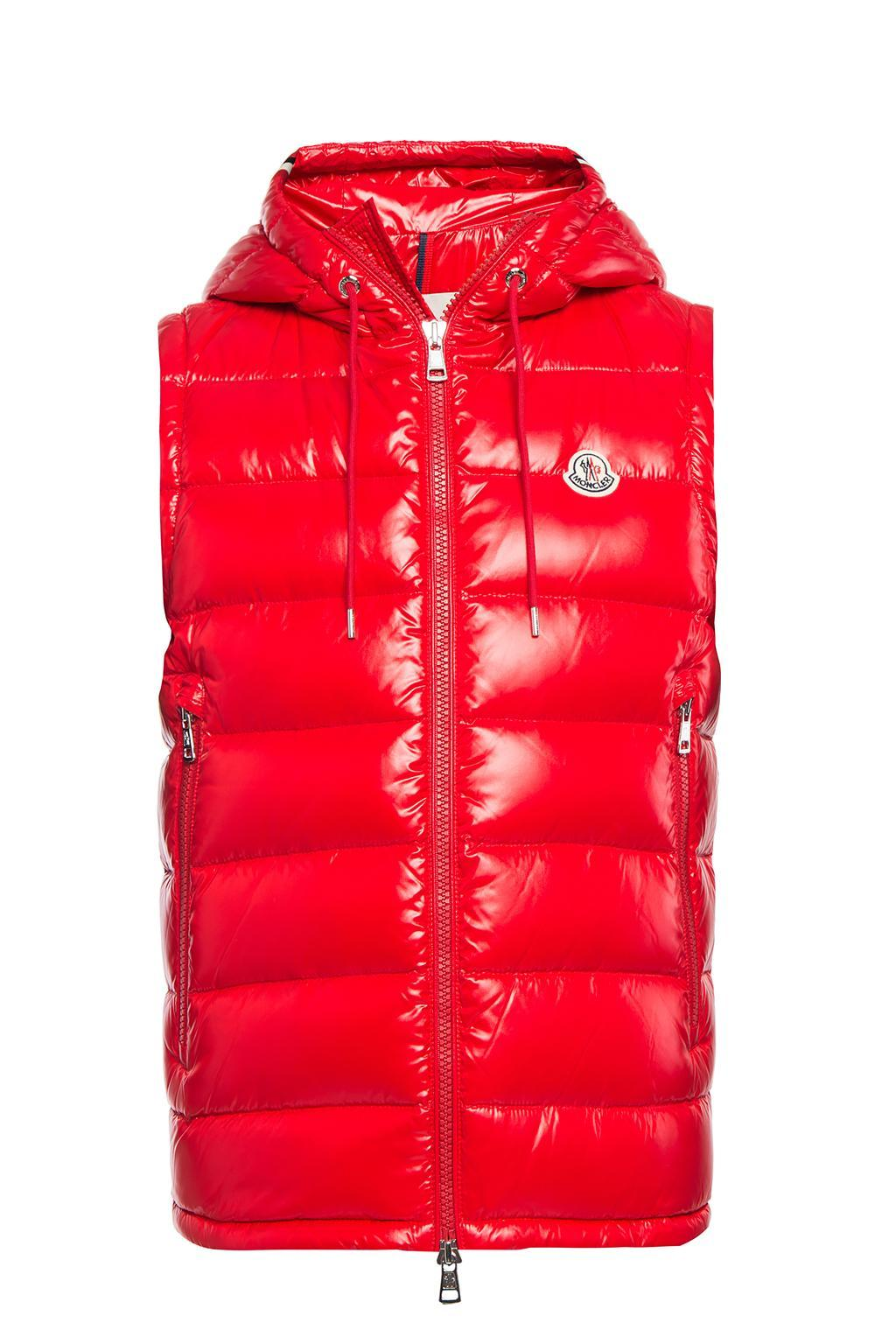 Moncler Synthetic Hooded Down Vest In Red For Men Lyst