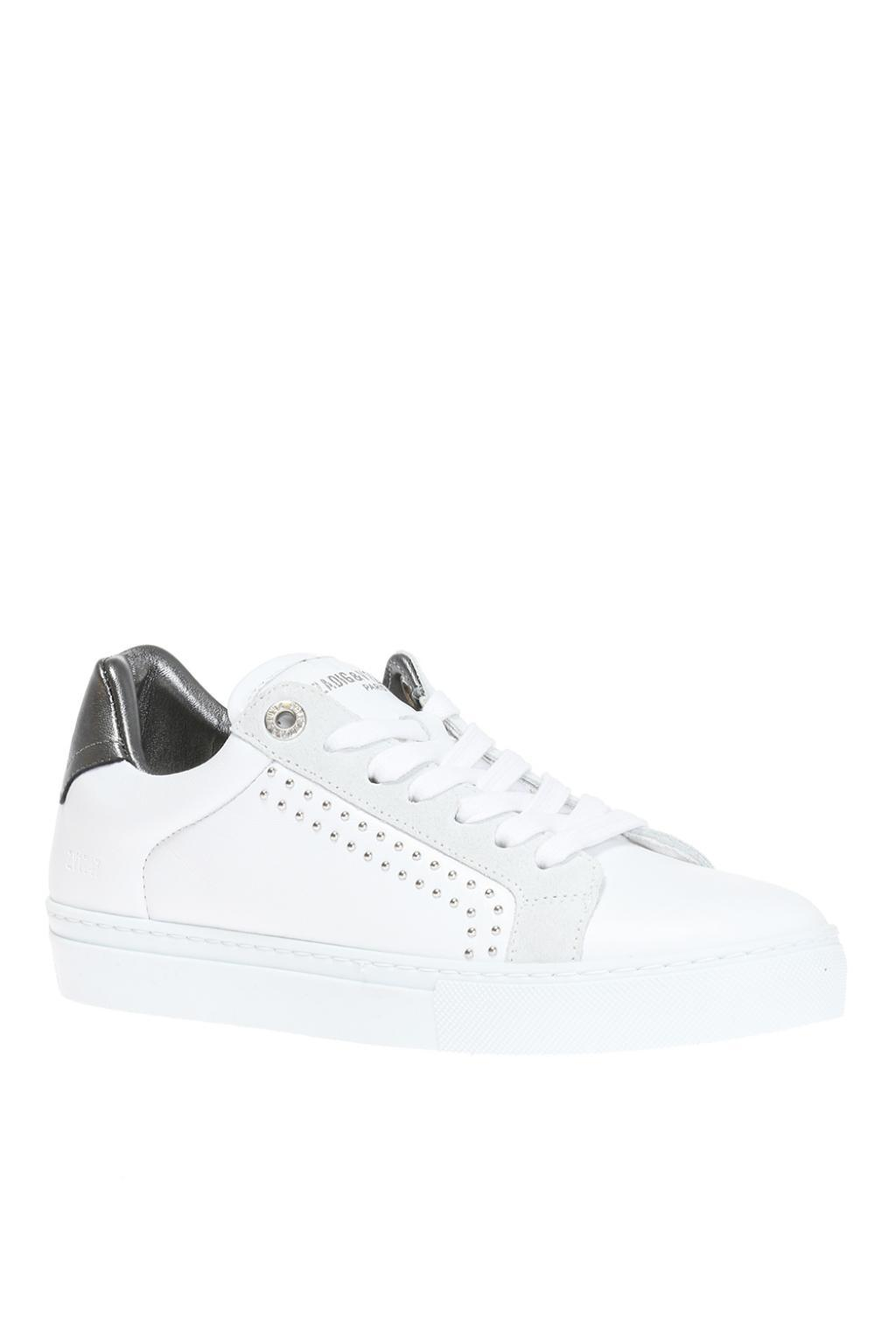Zadig & Voltaire Leather 'skulls' Lace-up Sneakers in White