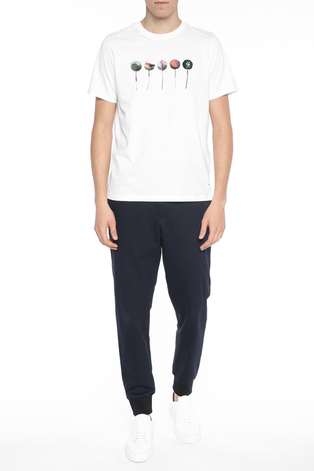 Paul Smith Cotton Trousers With Elasticated Cuffs Navy Blue for Men