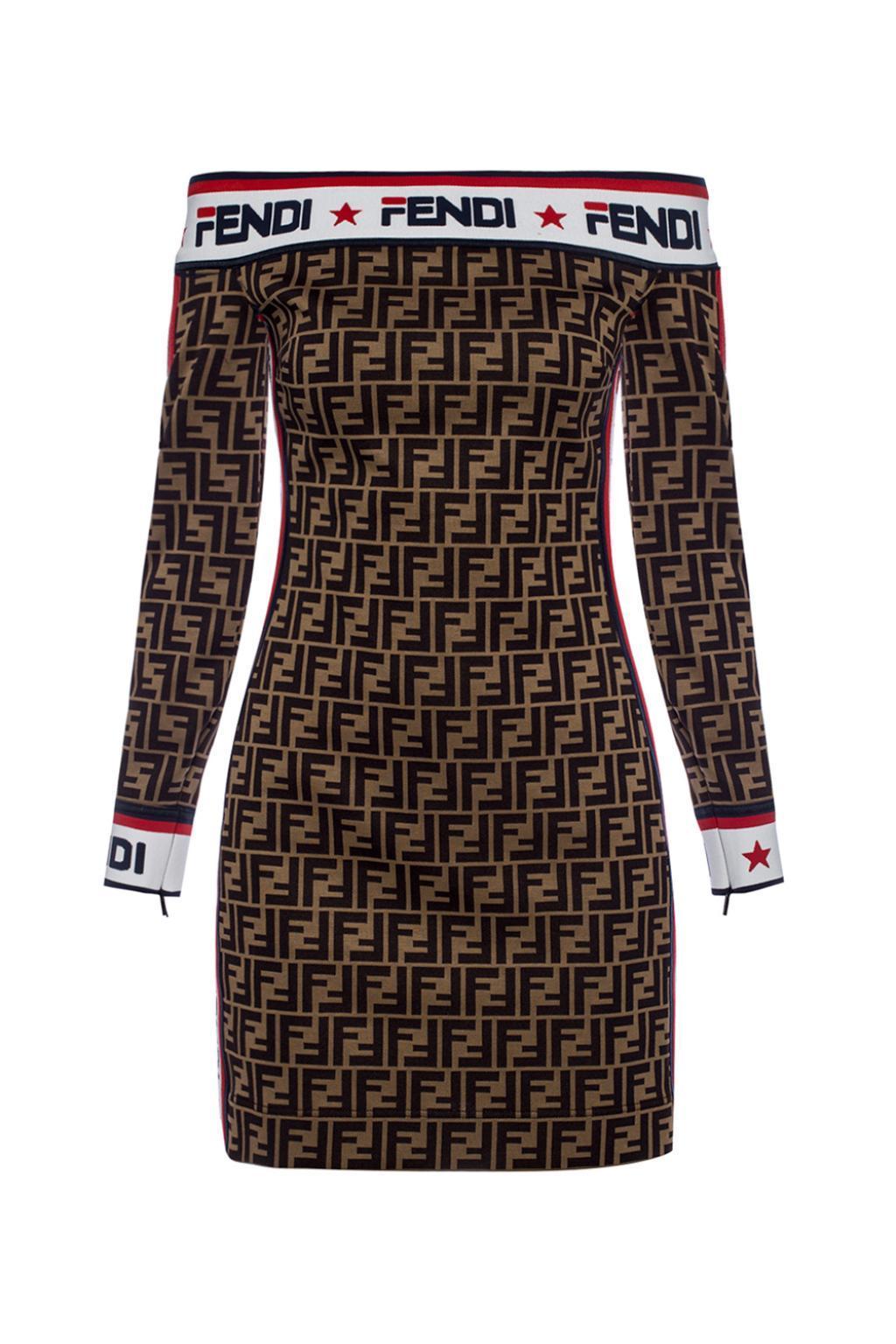 Fendi Denuded Shoulder Dress In Brown Lyst