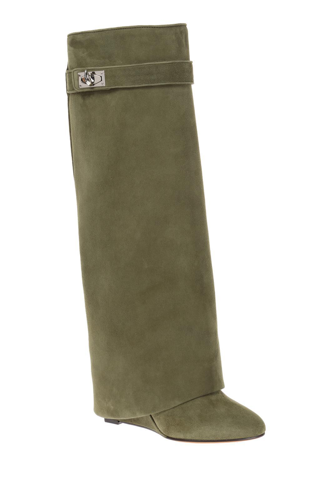 Givenchy Suede Folded Overlay Boots in Green