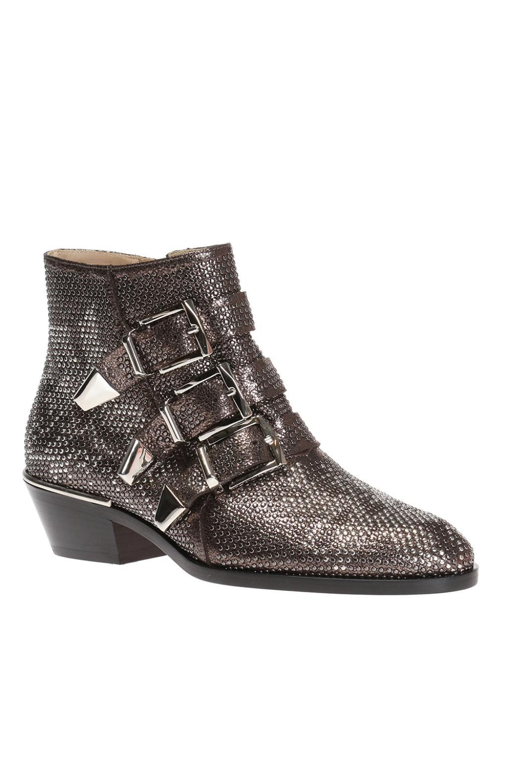 Chloé Leather 'susanna' Heeled Boots in Silver (Metallic)