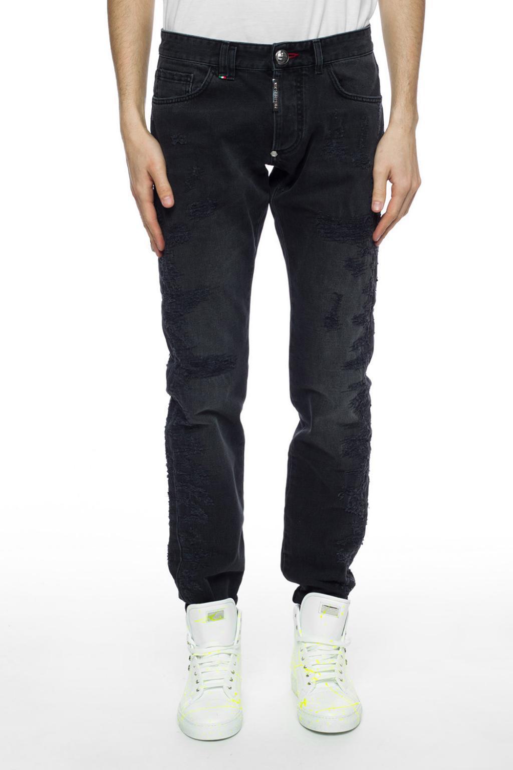 Philipp Plein Denim Distressed Jeans With Logo in Grey (Grey) for Men