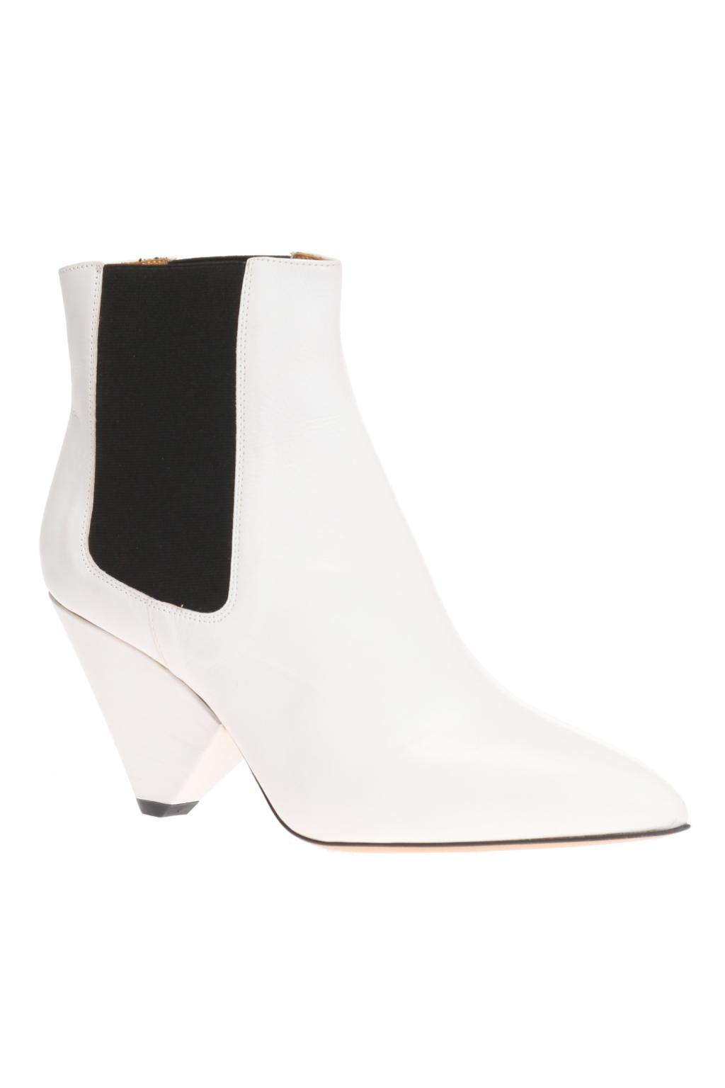 Isabel Marant Leather 'lashby' Heeled Ankle Boots in White