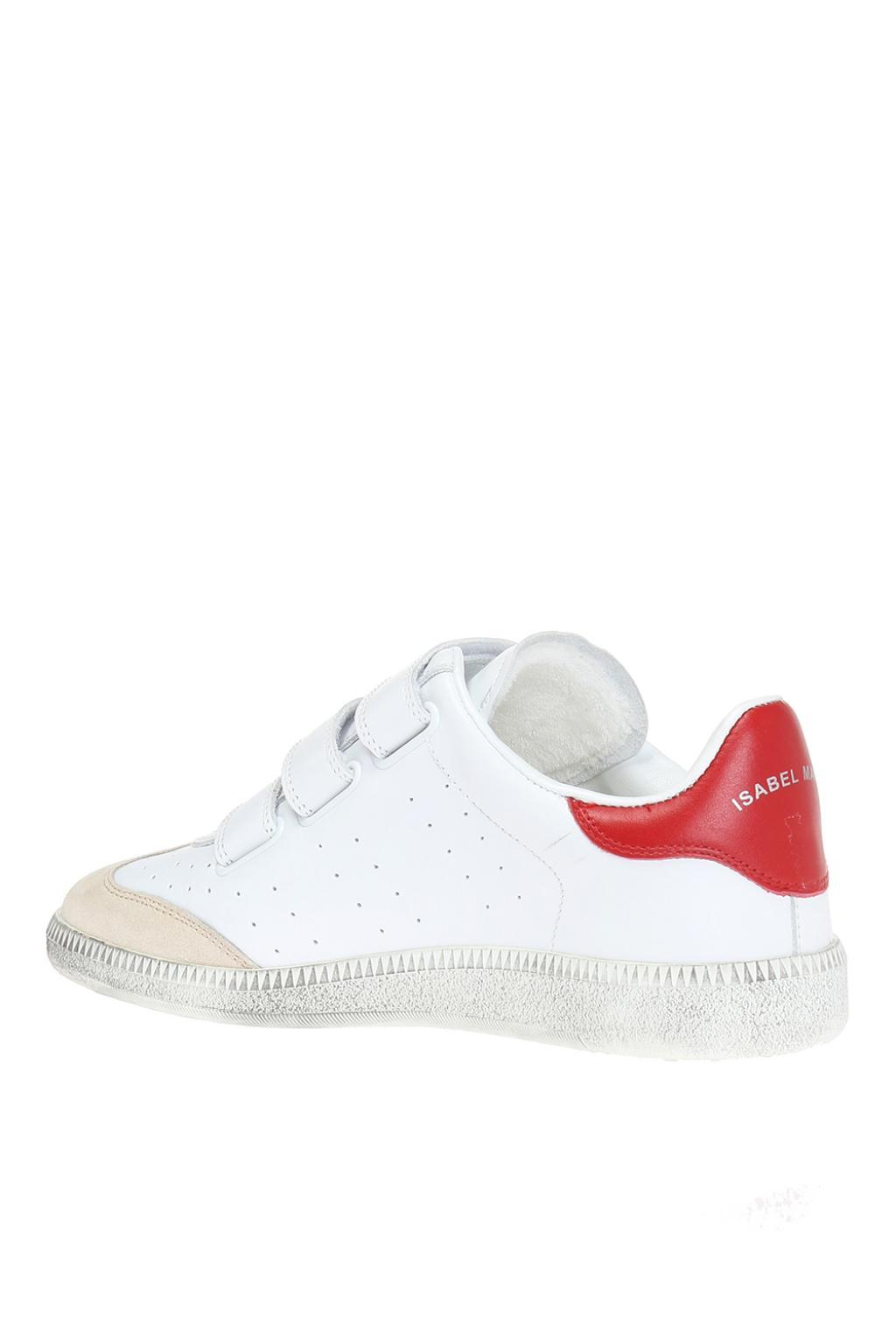 Isabel Marant Leather Beth Logo Grip-strap Sneakers in White