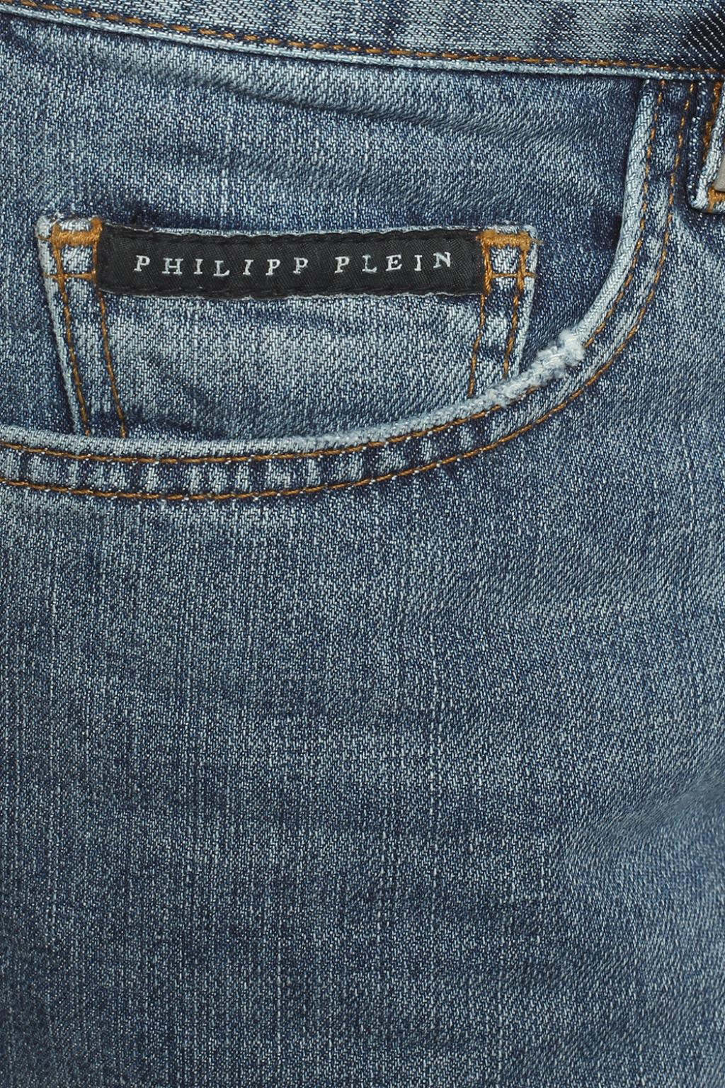 Philipp Plein Denim Jeans With Quilted Inserts in Blue for Men