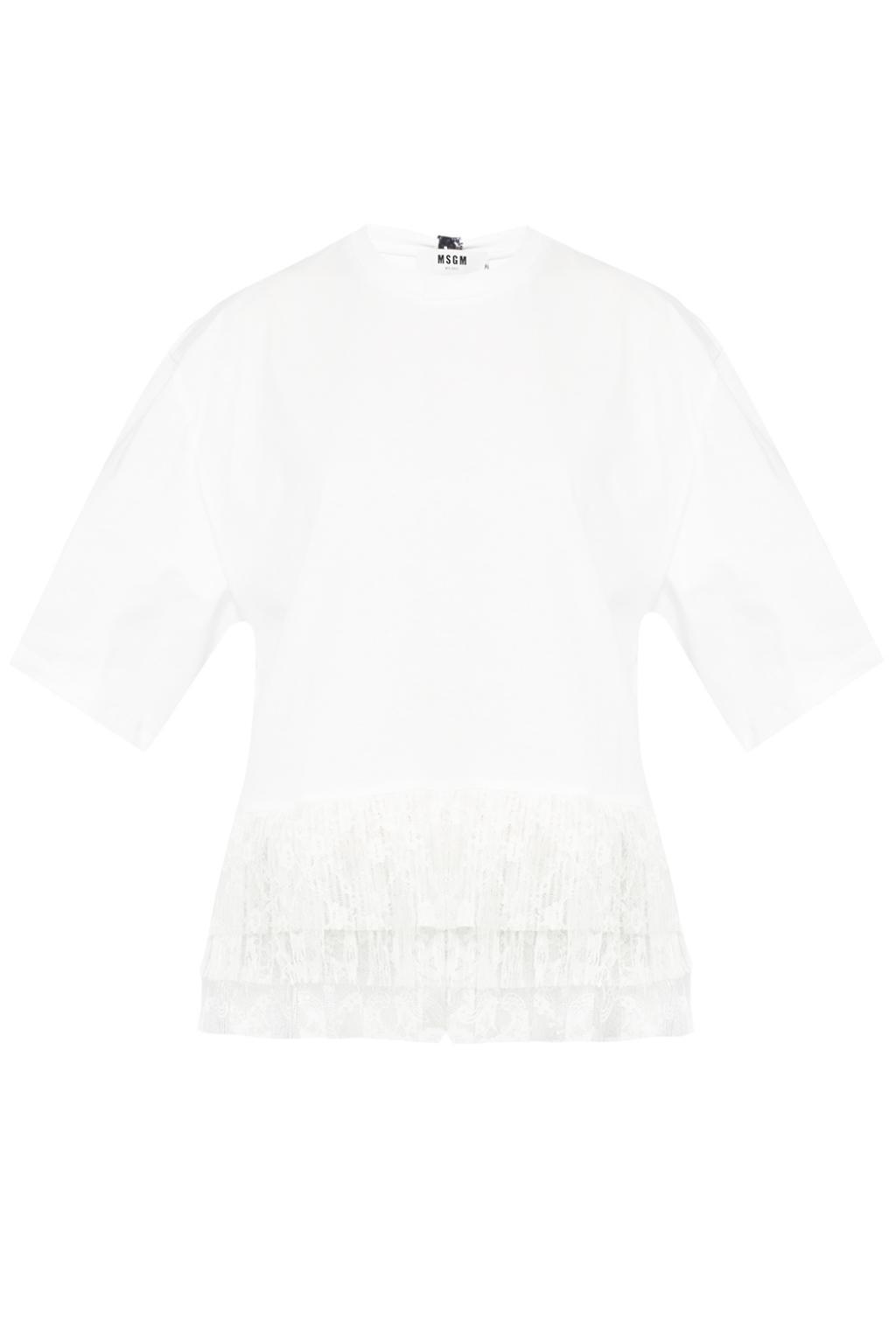 lace trim T-shirt - White Msgm Get To Buy Online Cheap Sale 2018 New Sast Cheap Online Cheap Sale High Quality pDCDL