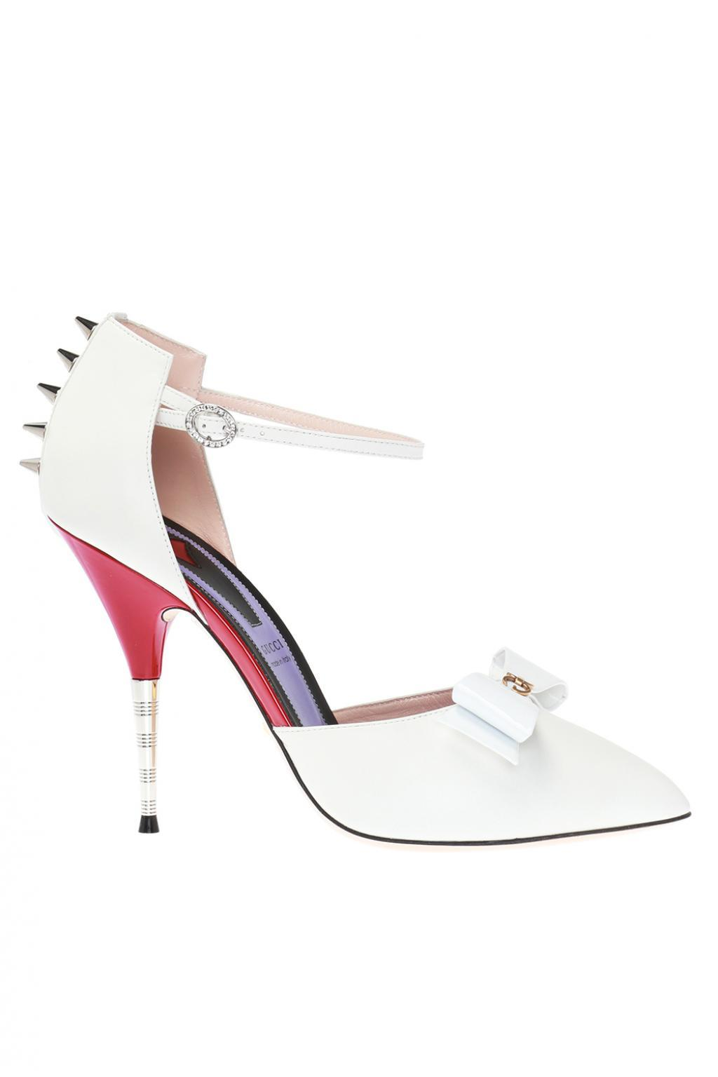 a58610e3603 Lyst - Gucci Spike Stud Pumps in White - Save 5%