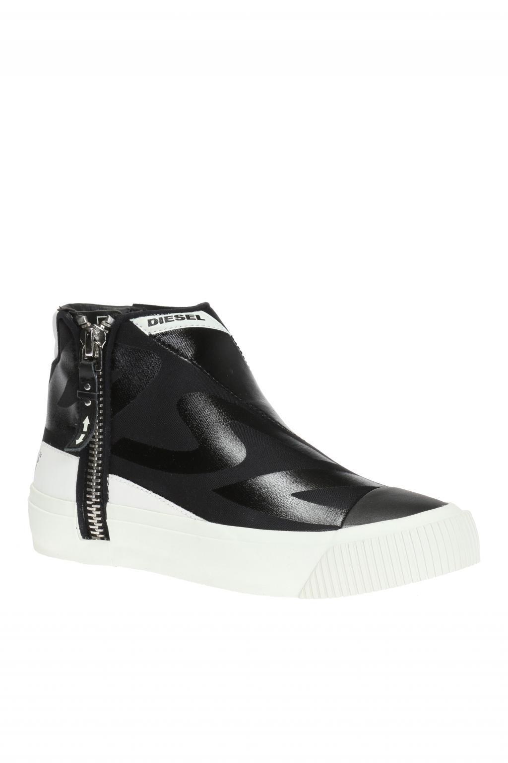 Diesel Leather S Quest High Top Sneakers In Black For