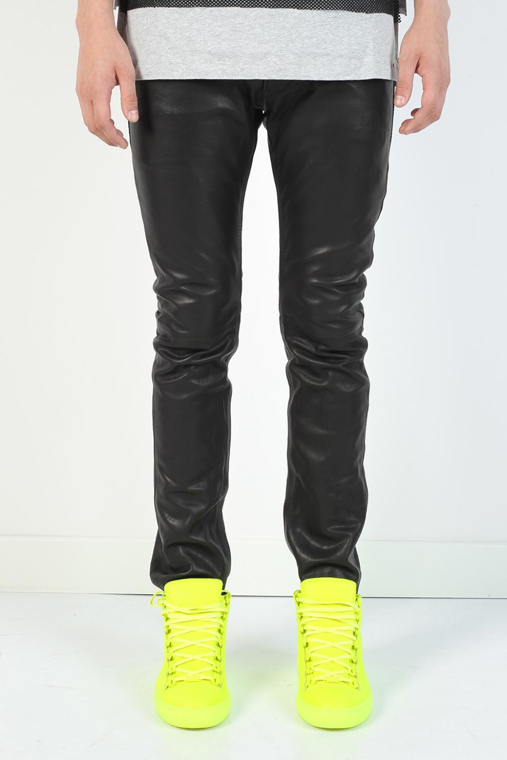 6995fab5 DIESEL - Black 'thavar' Leather Trousers for Men - Lyst. View fullscreen