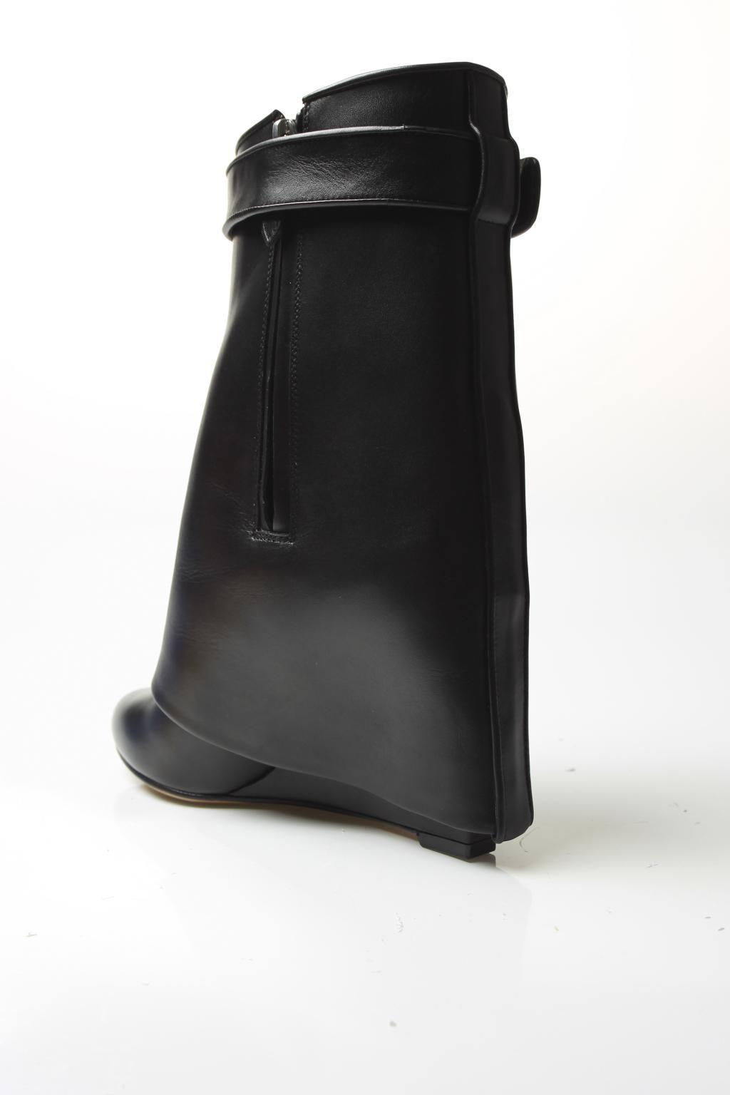Givenchy Leather Folded Overlay Boots in Black
