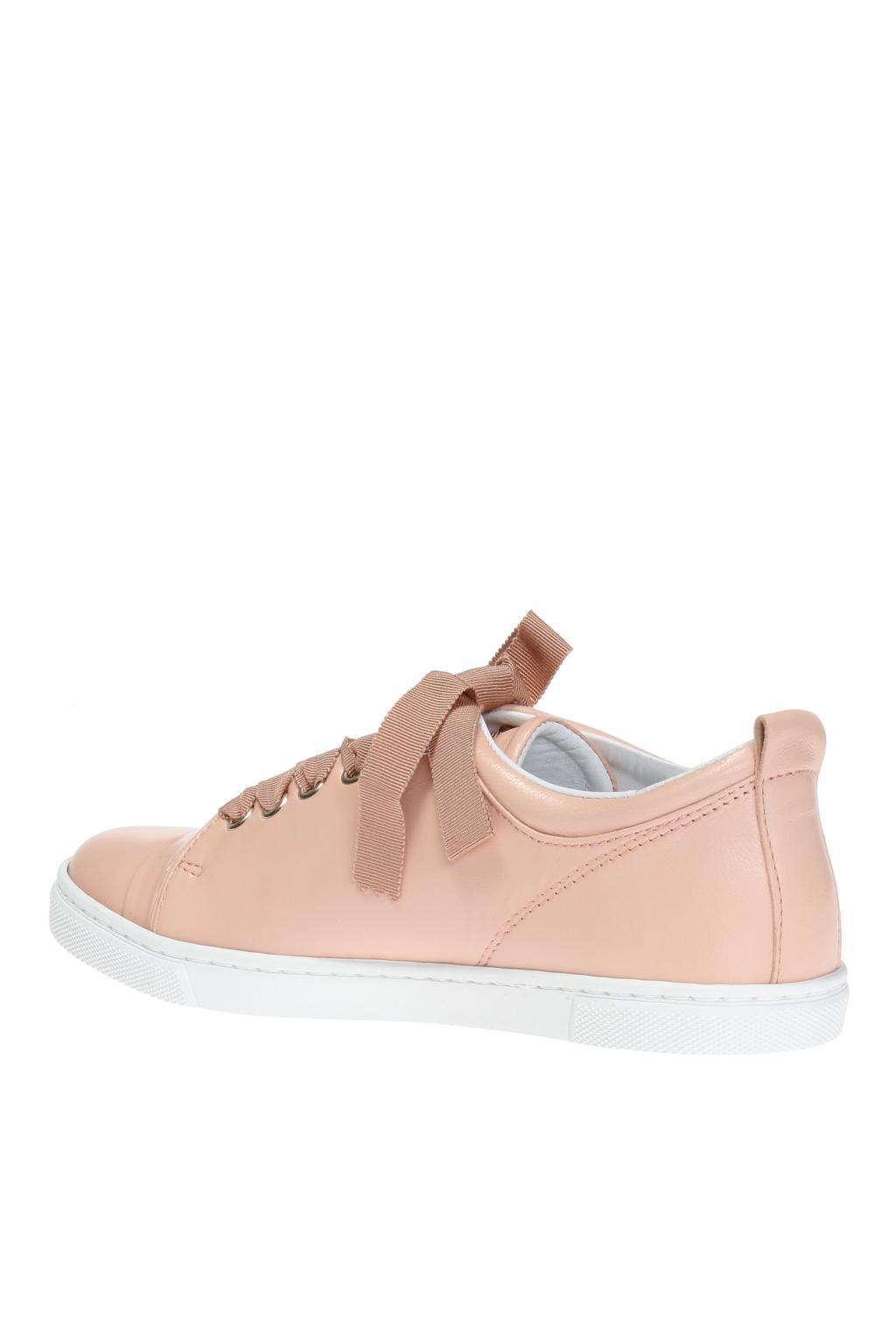 Lanvin Leather Lace-up Sneakers in Pink