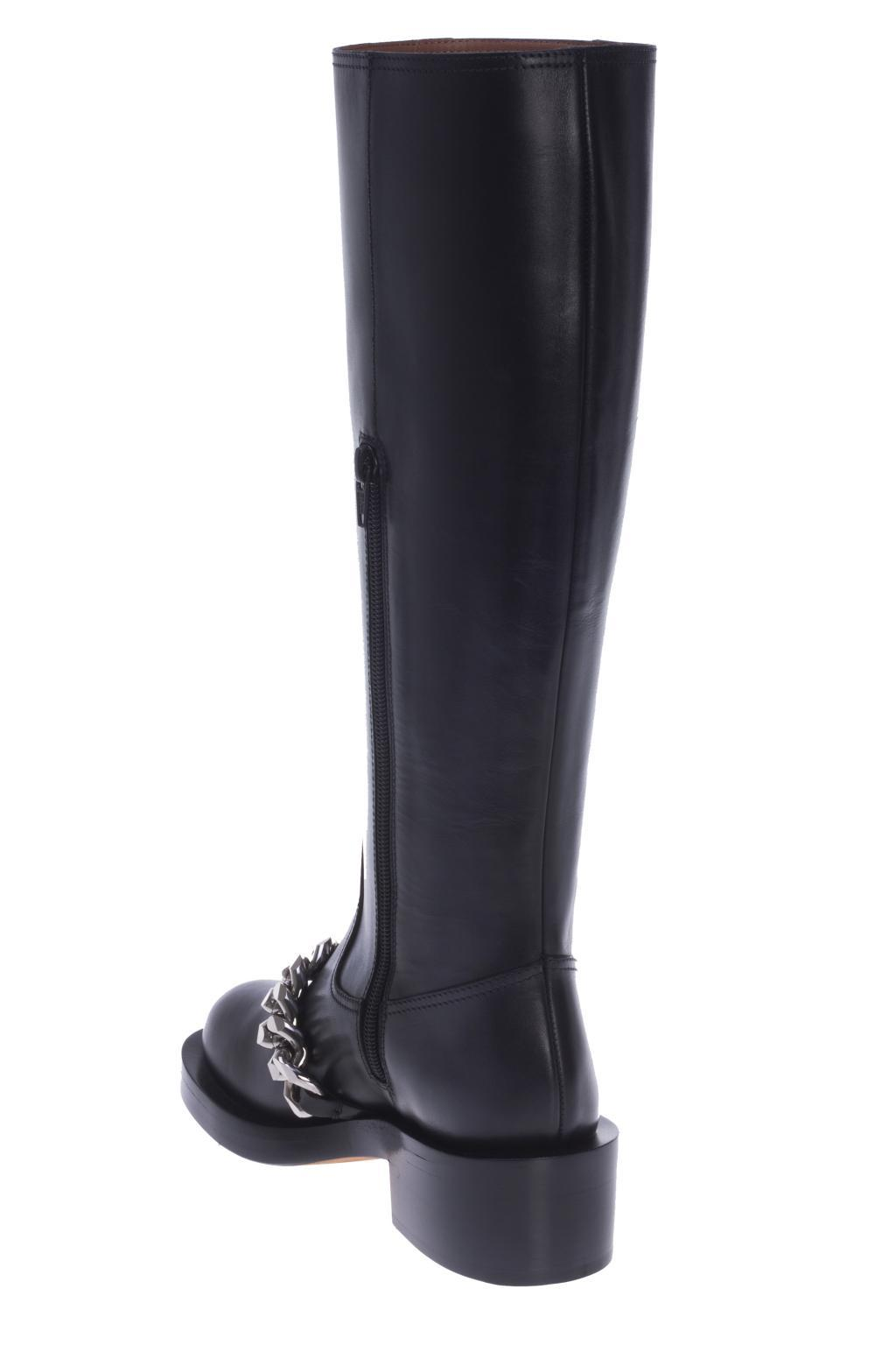 Givenchy Leather Metal Chain Boots in Black