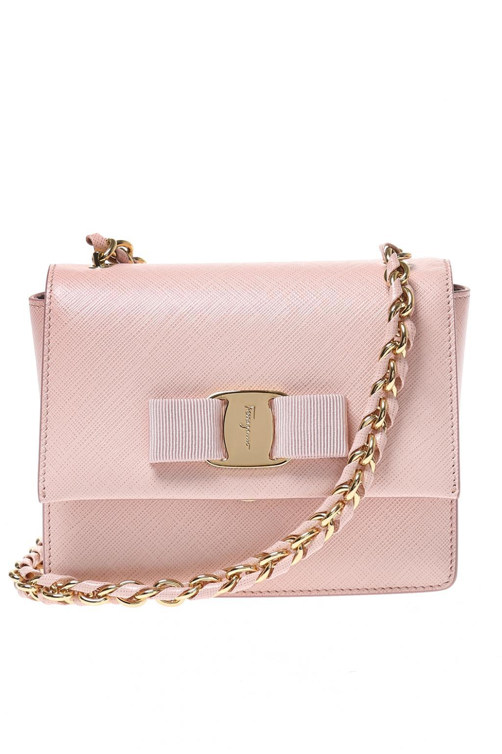 2f1884fafaeb Lyst - Ferragamo  ginny  Leather Shoulder Bag in Pink
