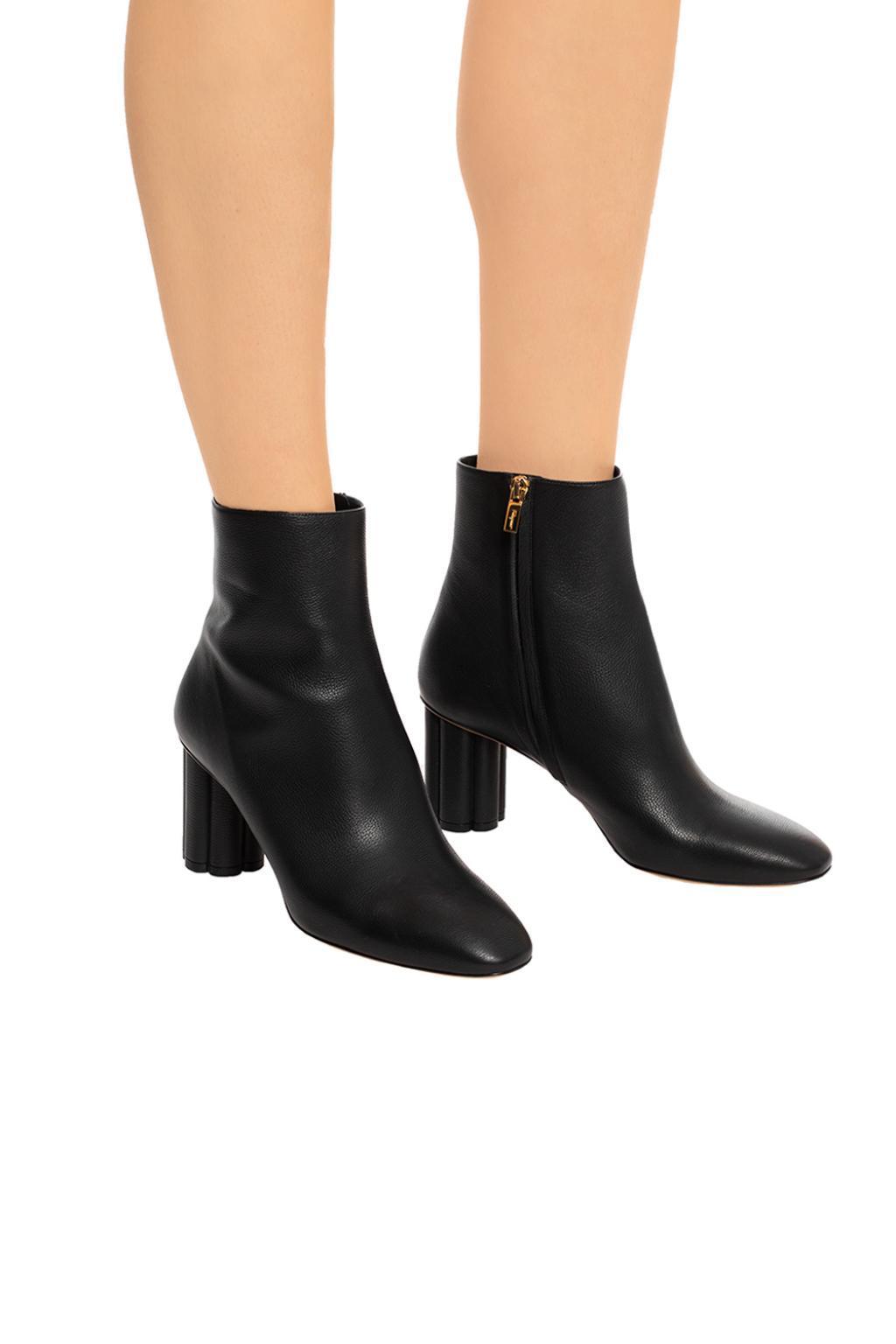 Ferragamo Leather 'molfetta' Heeled Ankle Boots in Black