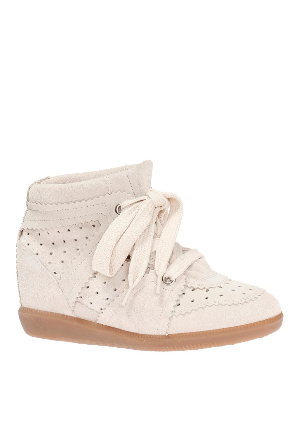 Isabel Marant Suede 'bobby' Wedge Sneakers in Black White (White)