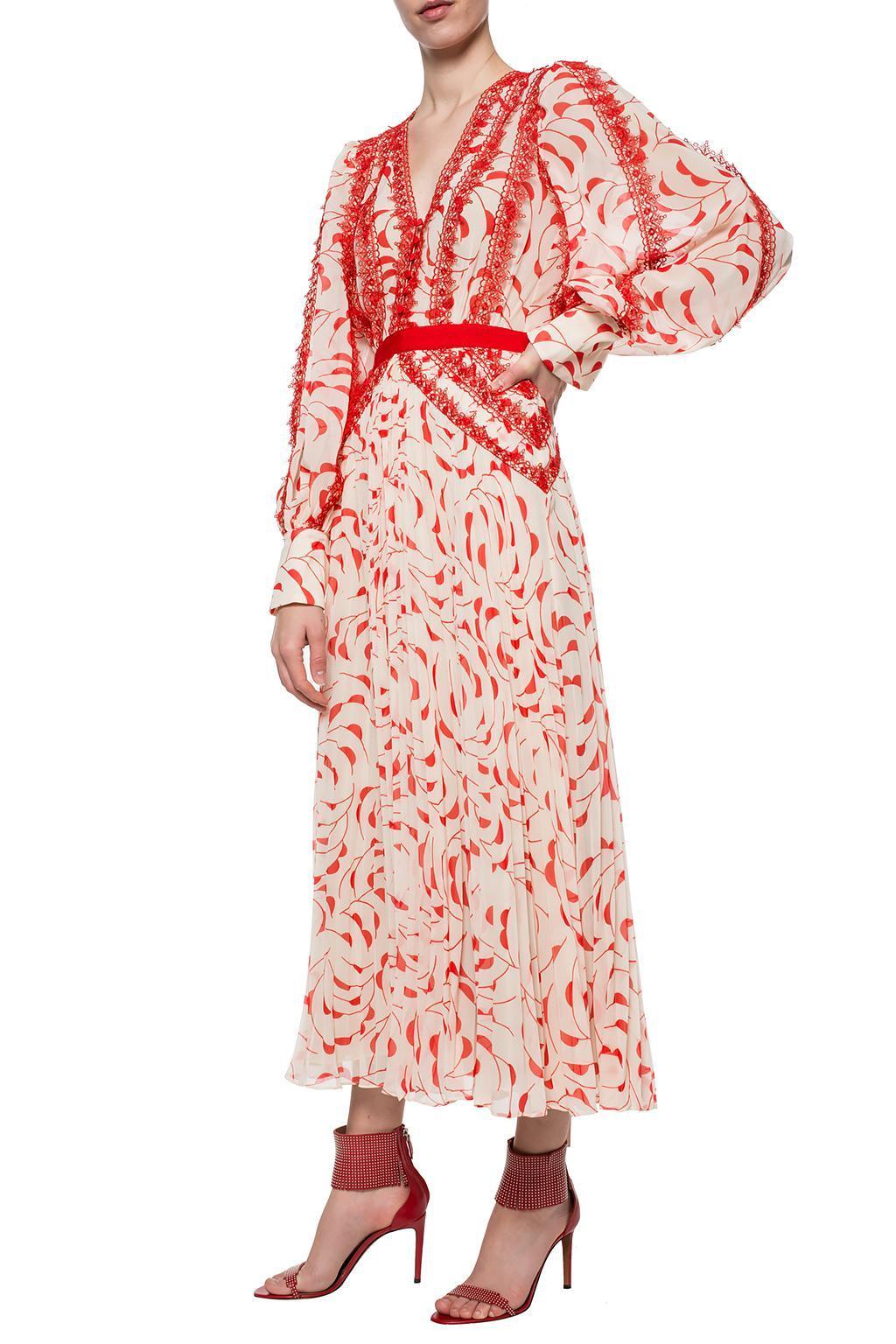 ead467975e2f7 Self-Portrait Crescent Printed Chiffon Midi Dress in Red - Save 5 ...