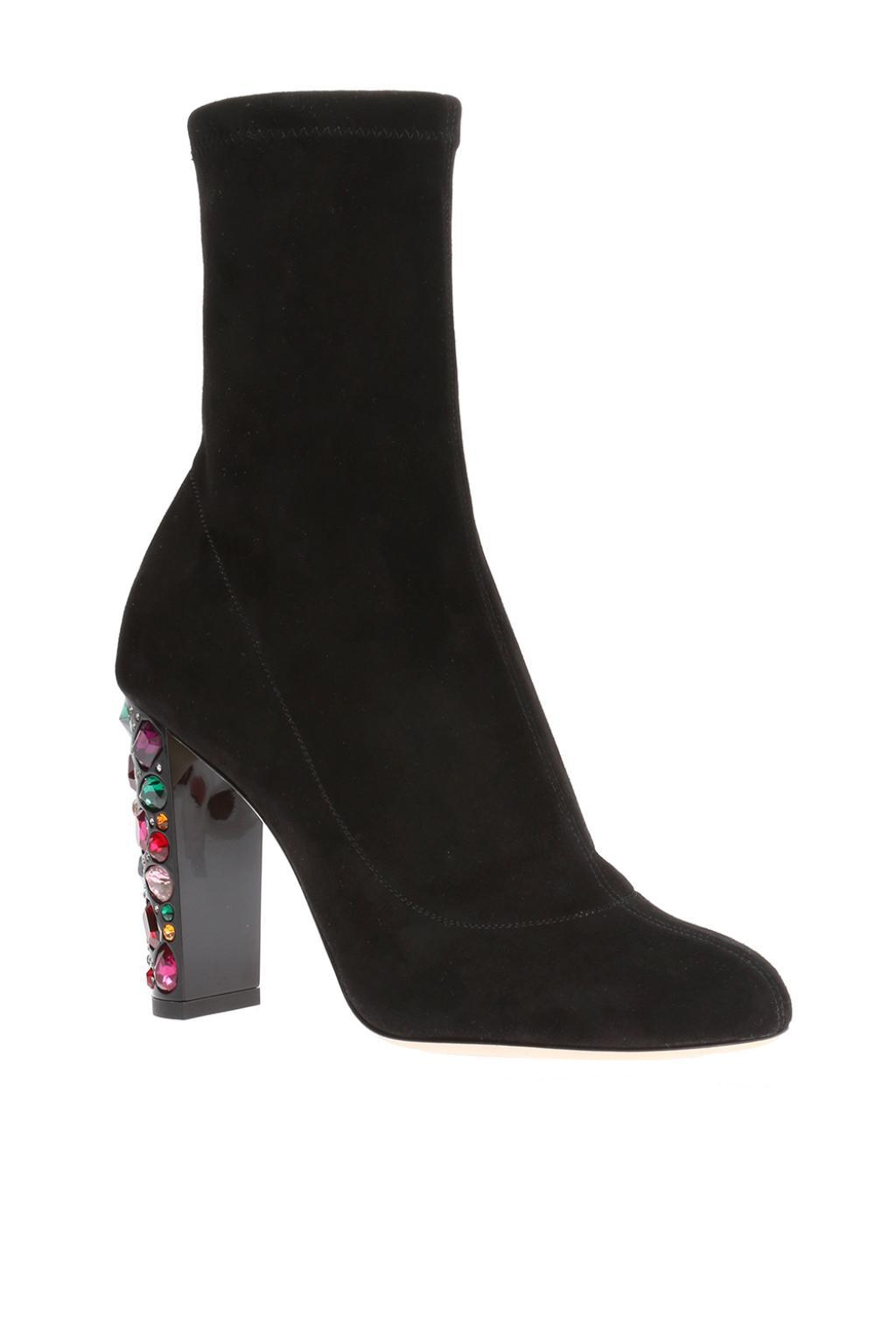 Jimmy Choo Suede 'maine' Heeled Ankle Boots in Black