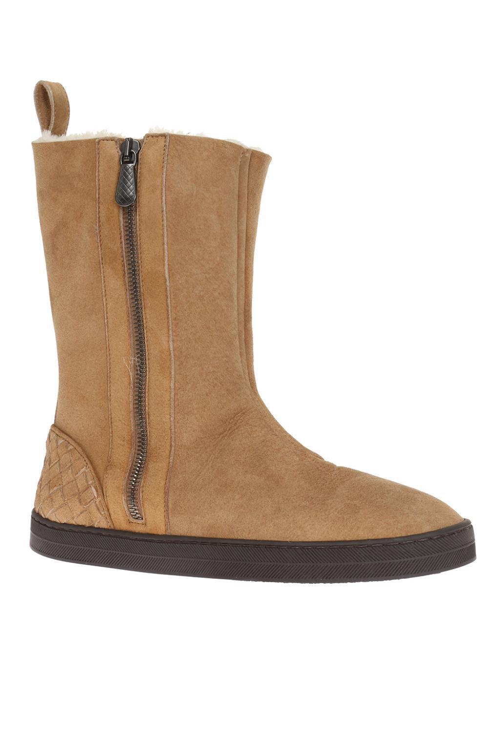 Bottega Veneta Suede Intrecciato Shoes In Brown Lyst