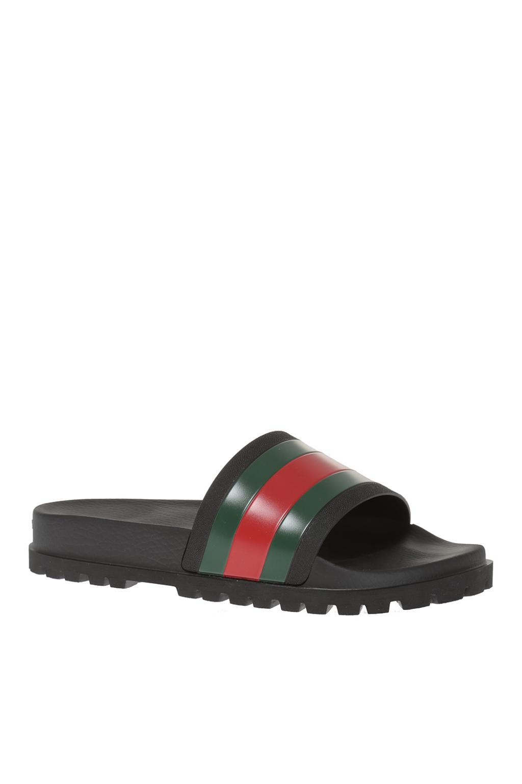 5c7cdf10a Lyst - Gucci Striped Web Rubber Slides in Black for Men - Save 30%