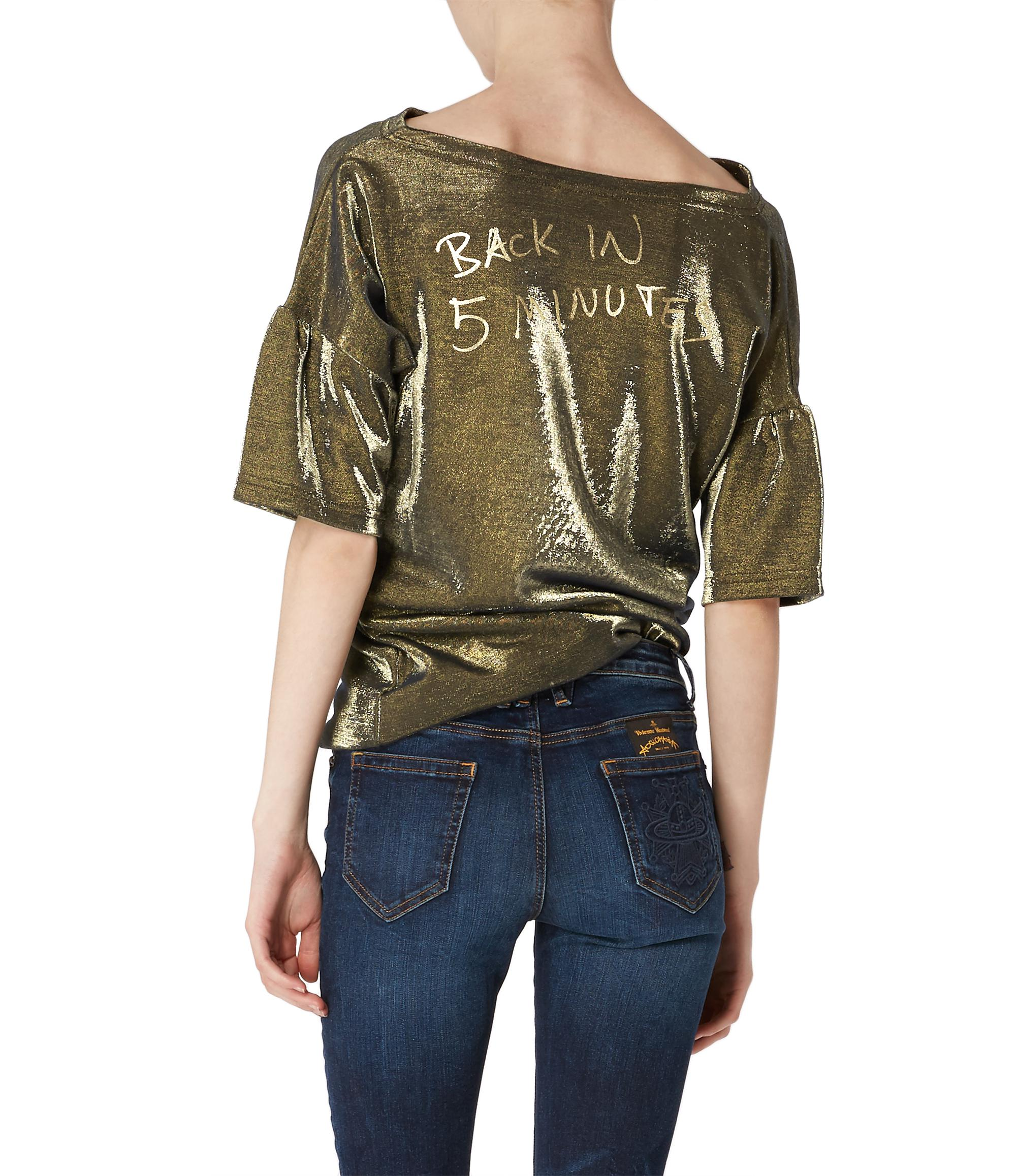 Lyst vivienne westwood open 24 hrs top in metallic for 24 hour t shirt printing